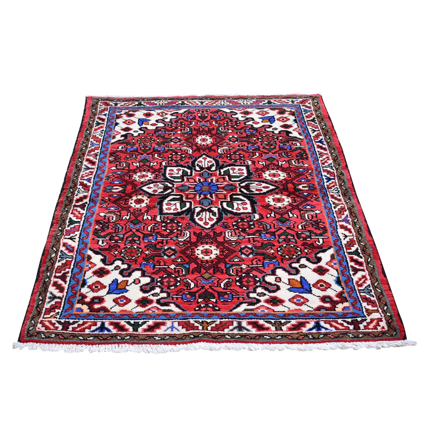 "3'6""x5'2"" Red Vintage Persian Hamadan Flower Medallion Organic Wool Hand Knotted Oriental Rug"