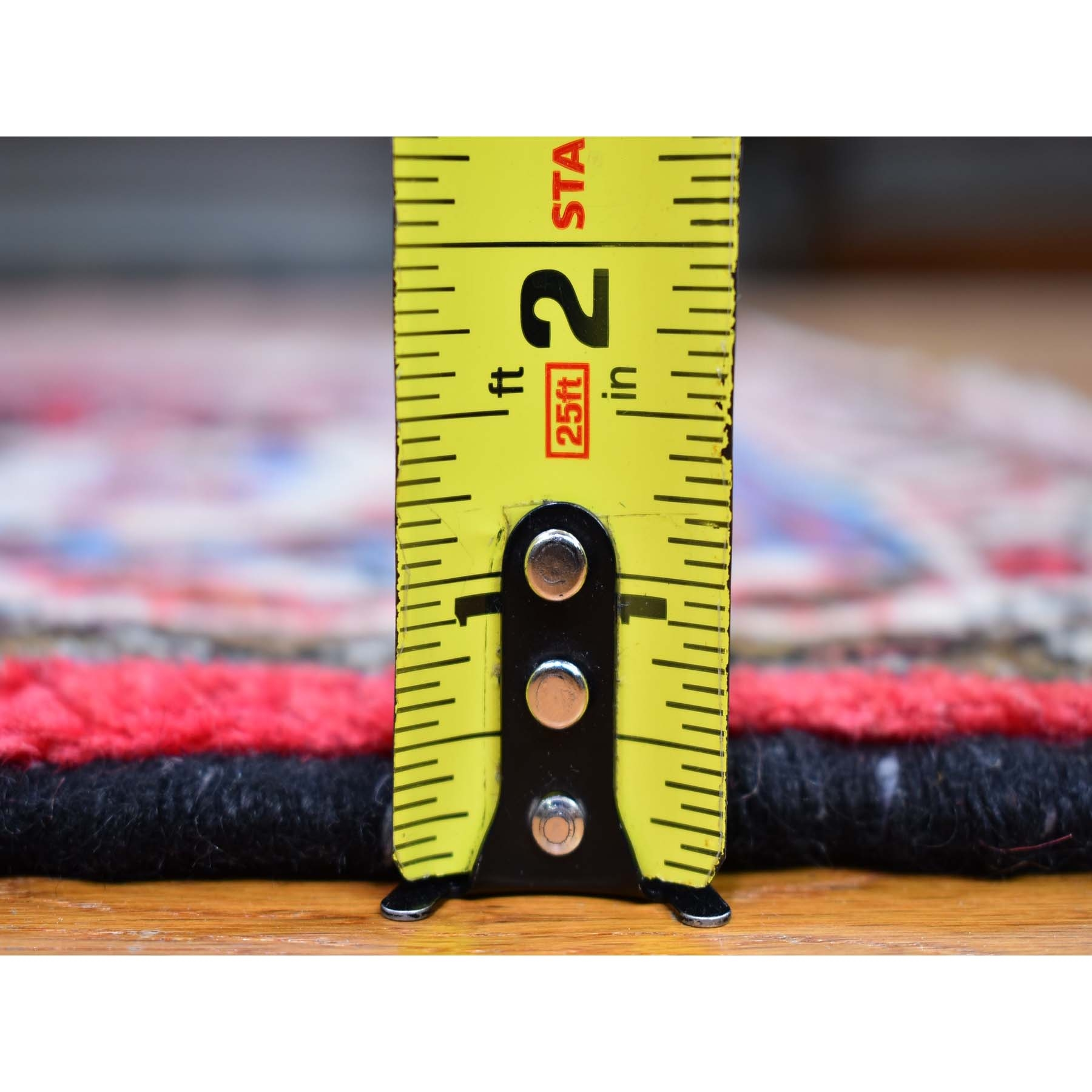 "3'6""x5'2"" Red Vintage Persian Hamadan Flower Medallion Organic Wool Hand Knotted Oriental Rug"