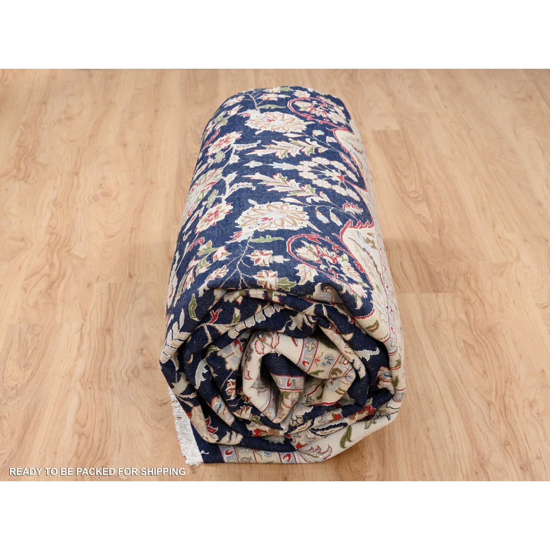 8'x10' Navy Blue Nain Wool and Silk 250 KPSI Hand Knotted Oriental Rug