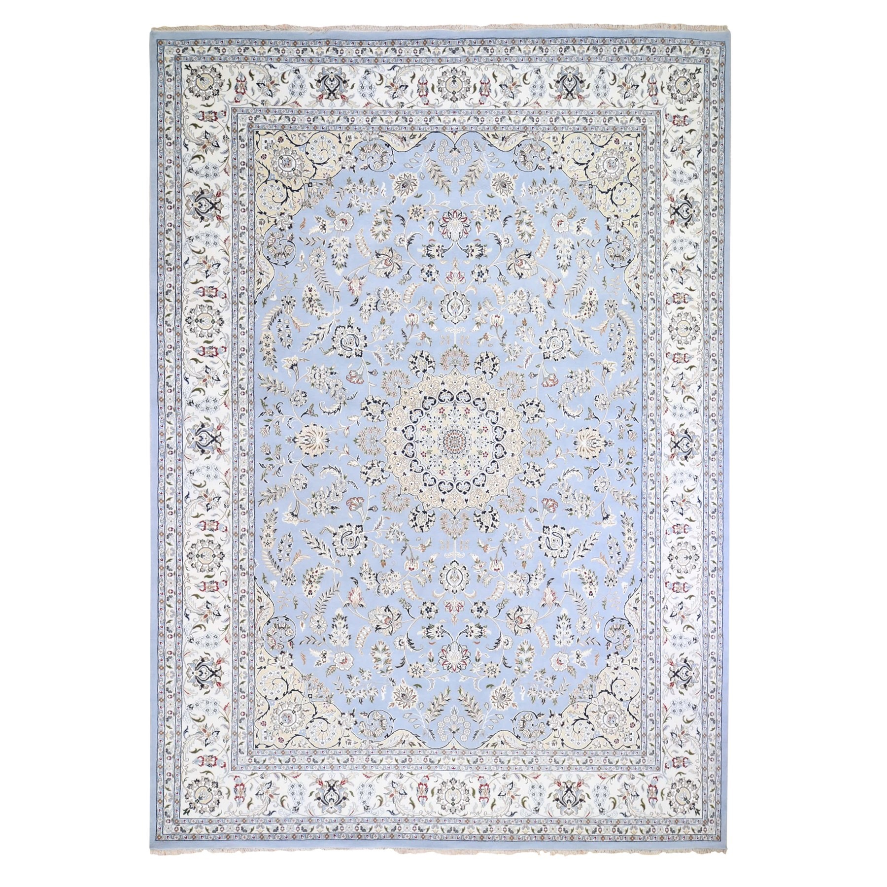 10'x14' Light Blue Nain Wool and Silk 250 KPSI Hand Knotted Oriental Rug