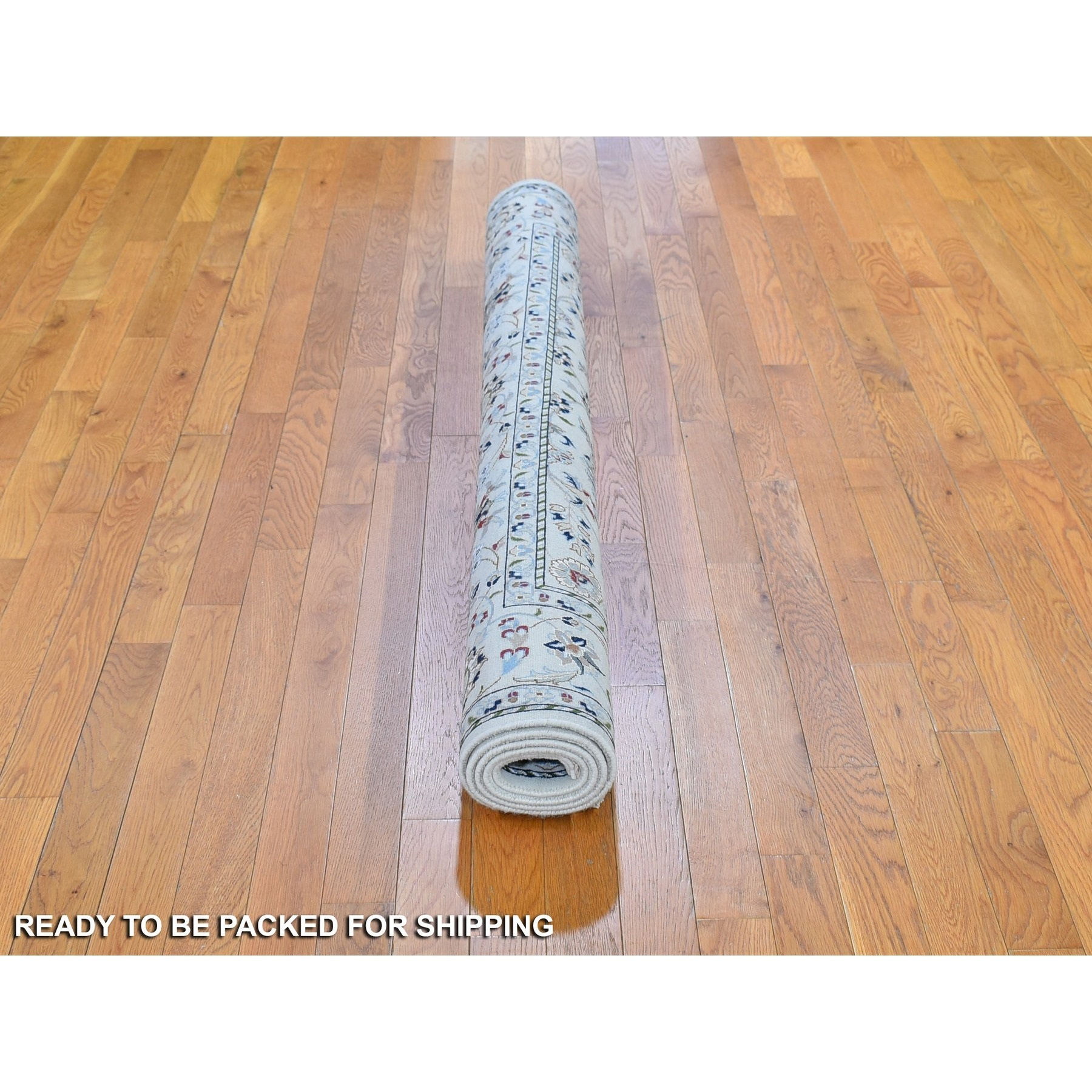 """6'1""""x6'1"""" Ivory Wool and Silk 250 KPSI All Over Design Nain Hand Knotted Oriental Rug"""