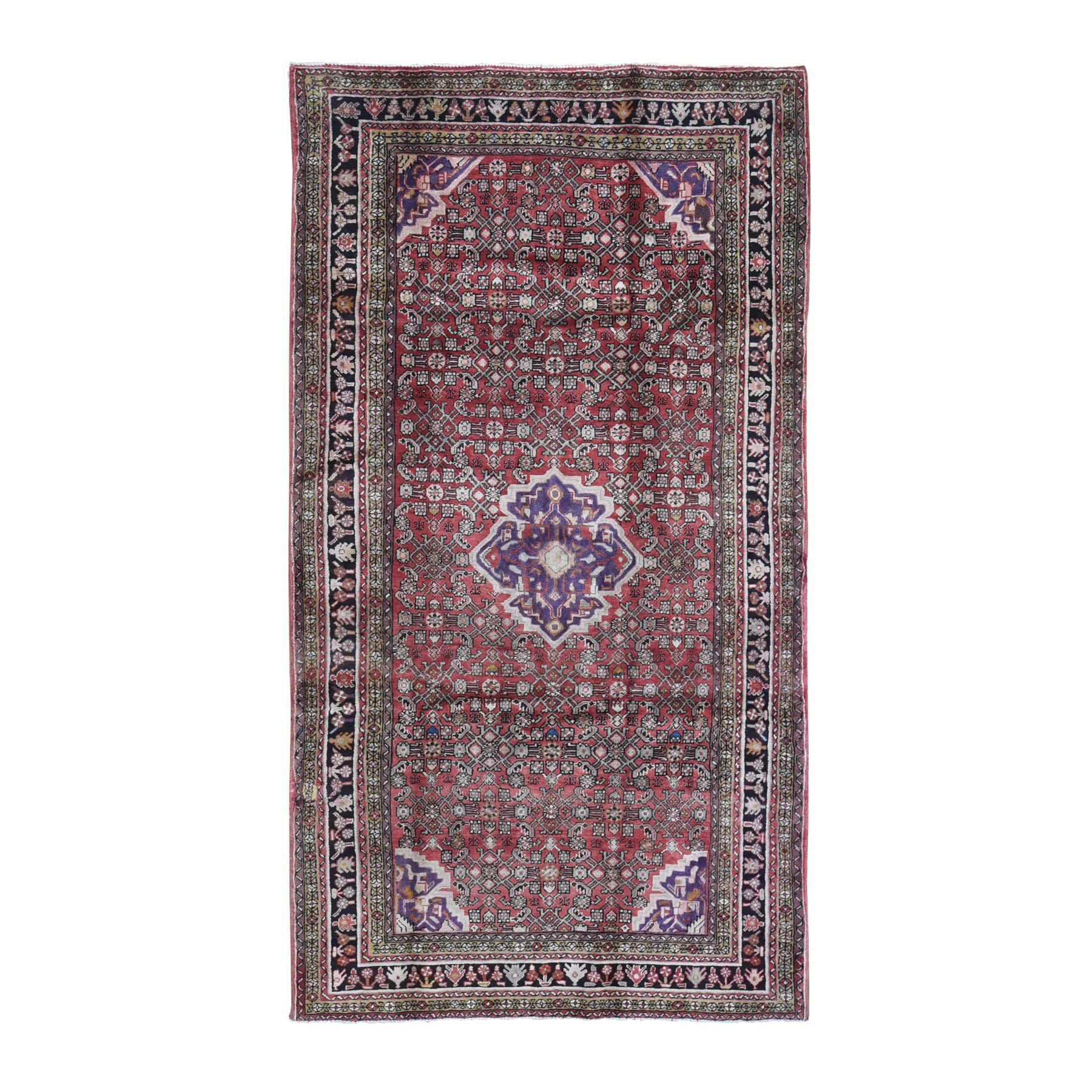 "5'7""x10'2"" Red Vintage Persian Hamadan Small Medallion Herat Fish All Over Design Pure Wool Hand Knotted Oriental Rug"