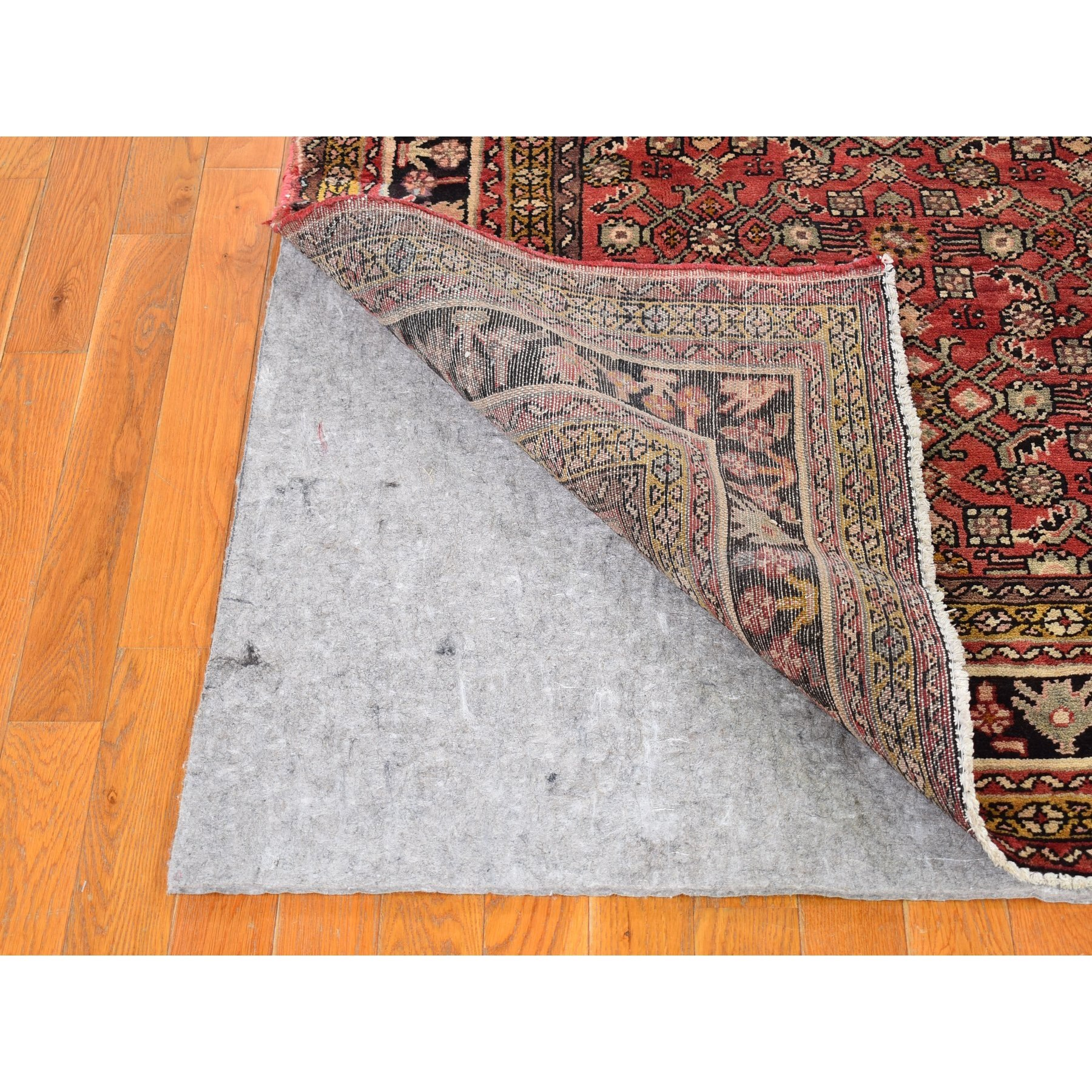 """5'7""""x10'2"""" Red Vintage Persian Hamadan Small Medallion Herat Fish All Over Design Pure Wool Hand Knotted Oriental Rug"""