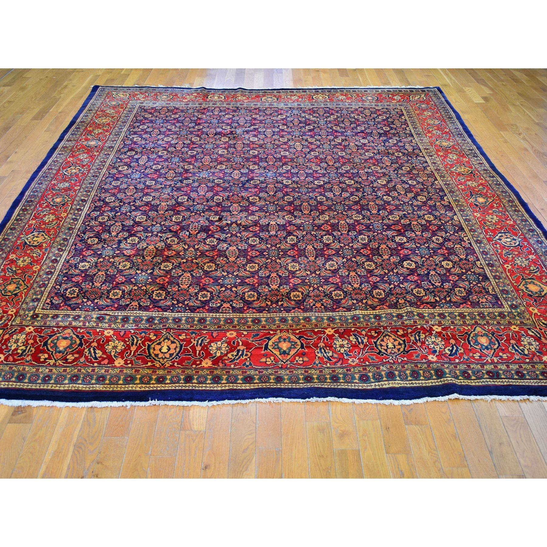 """9'4""""x12'2"""" Navy Blue Herat All Over Fish Design Vintage Persian Mahal Natural Wool Hand Knotted Oriental Rug"""
