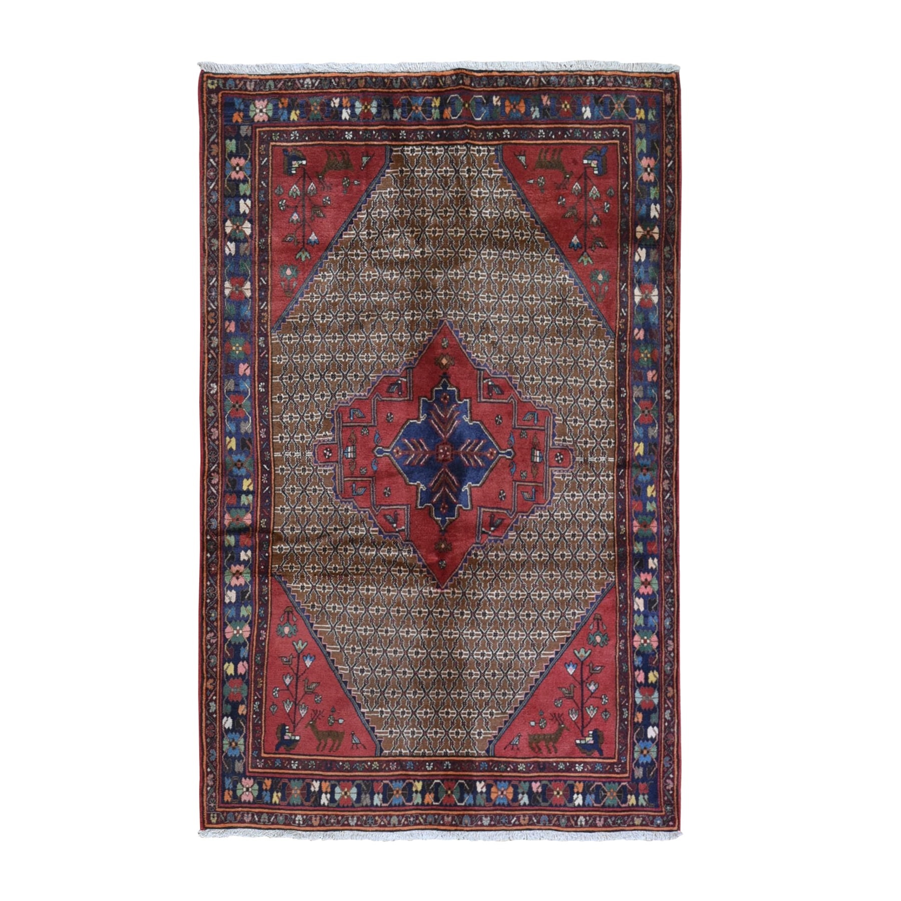 "5'5""x8'6"" Vintage Persian Hamadan Camel Hair with Bird and Deer Figurines Organic Wool Hand Knotted Oriental Rug"