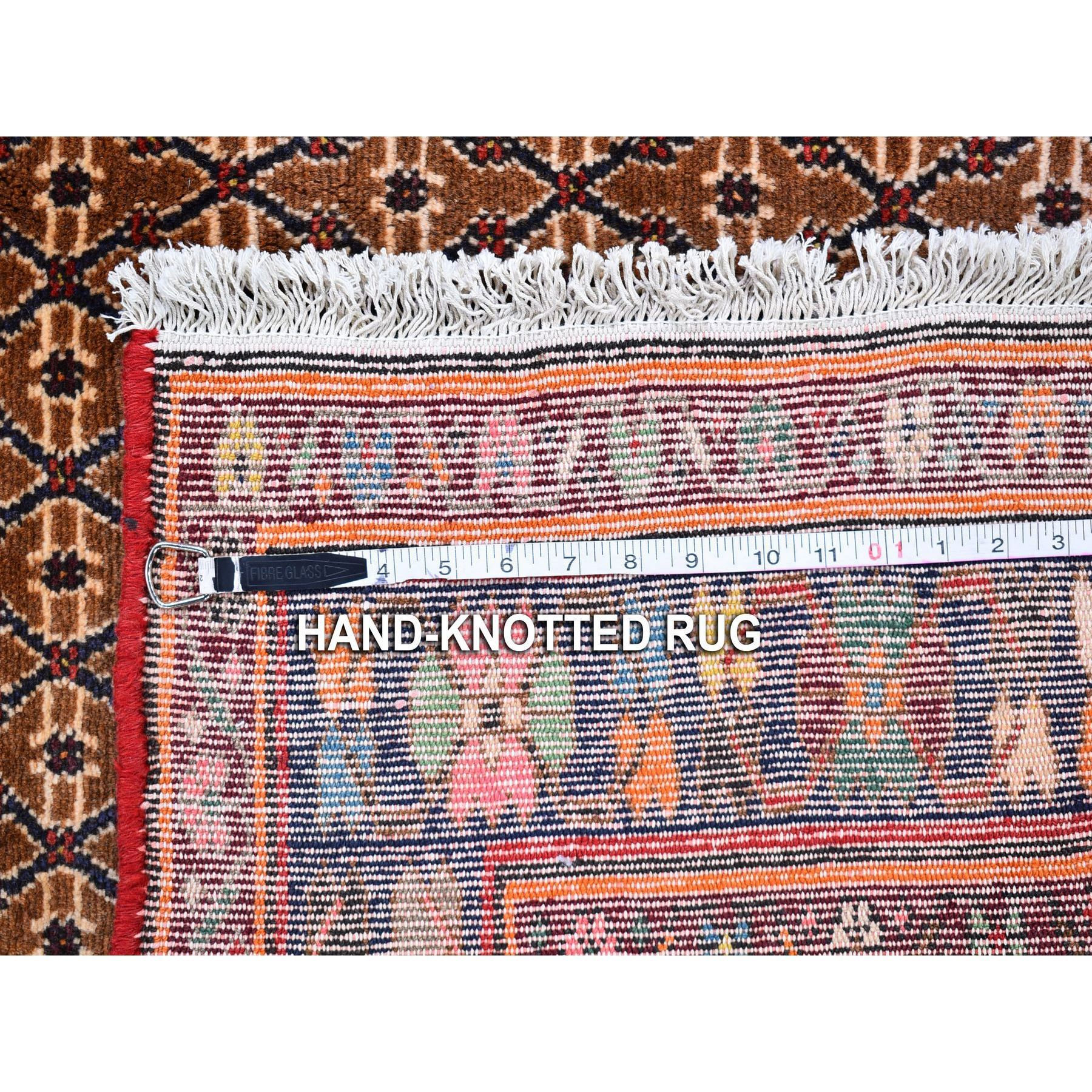"""5'5""""x8'6"""" Vintage Persian Hamadan Camel Hair with Bird and Deer Figurines Organic Wool Hand Knotted Oriental Rug"""