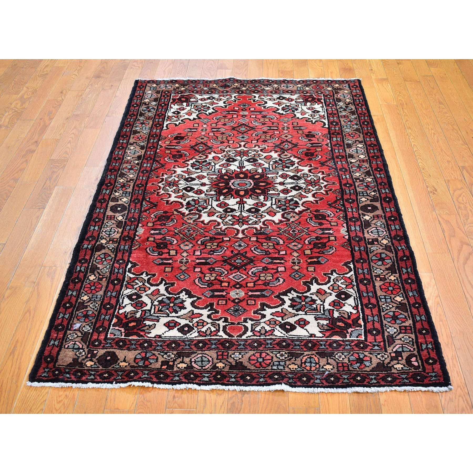 4'x7' Red Vintage Persian Hamadan with Flower Design Full Pile Clean Hand Knotted Pure Wool Oriental Rug