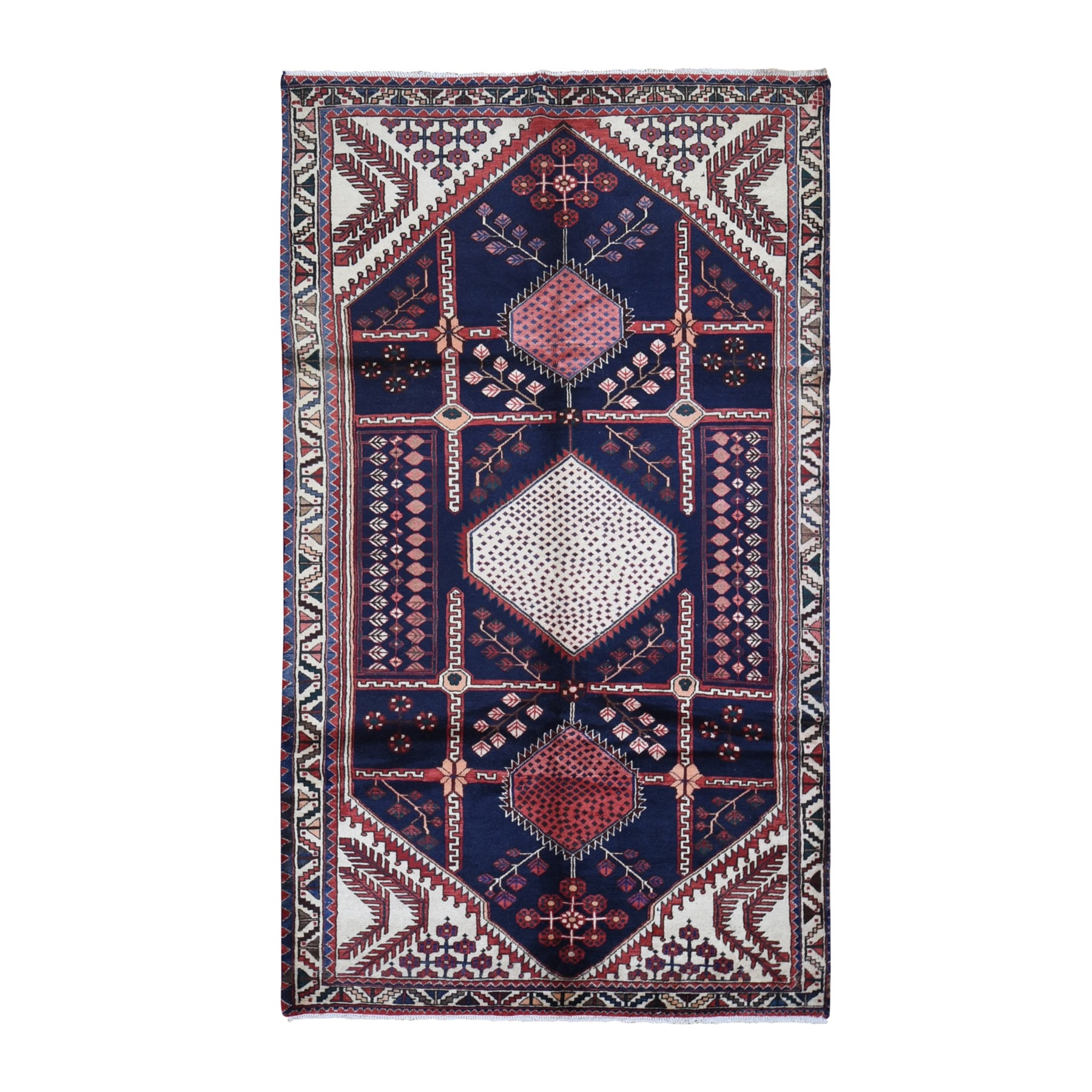 "5'2""x9' Navy Blue Vintage Persian Afshar Serrated Medallions Abrash Organic Wool Hand Knotted Oriental Rug"