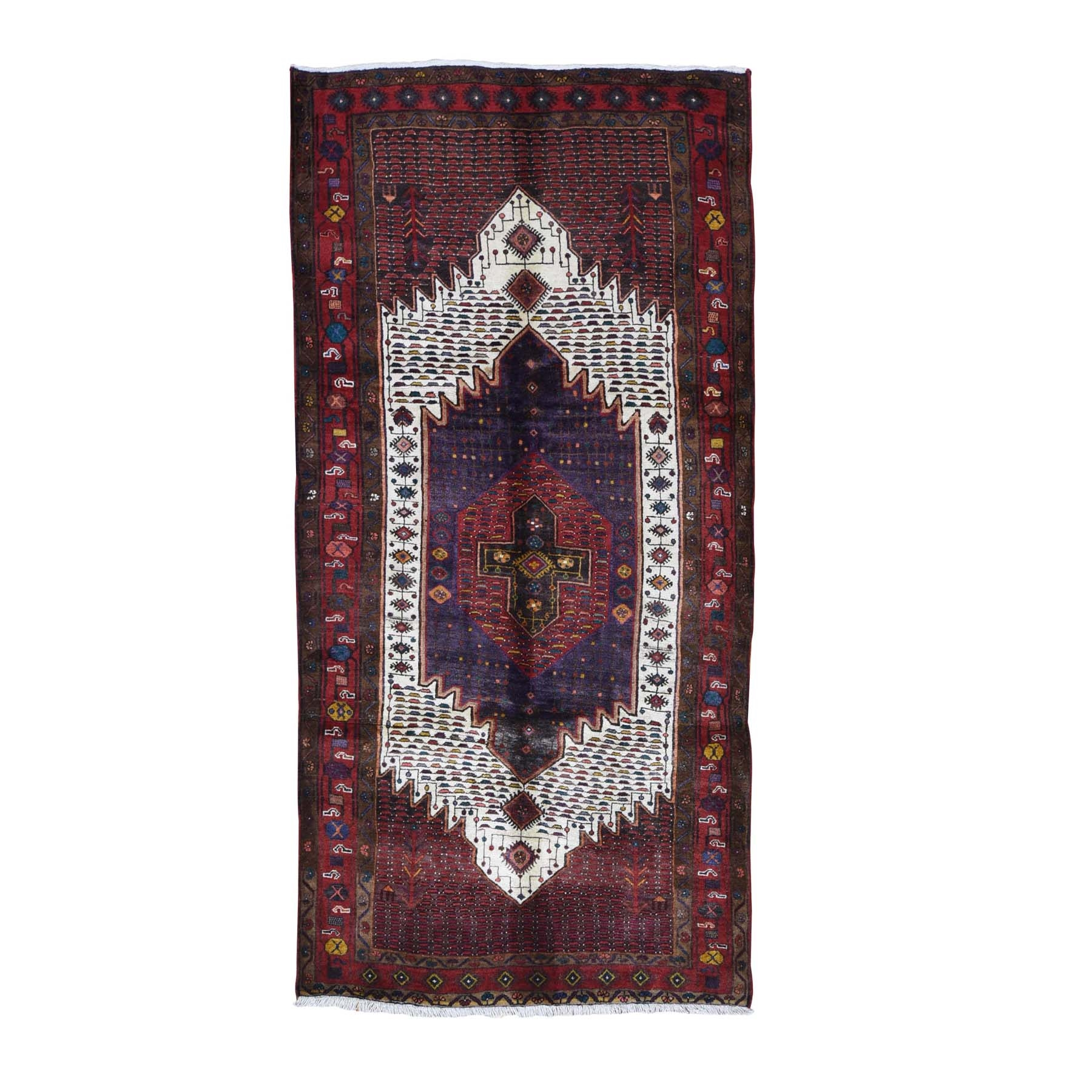 "5'x9'8"" Red Vintage Persian Hamadan Clean Full Pile But Skewed Organic Wool Hand Knotted Oriental Rug"