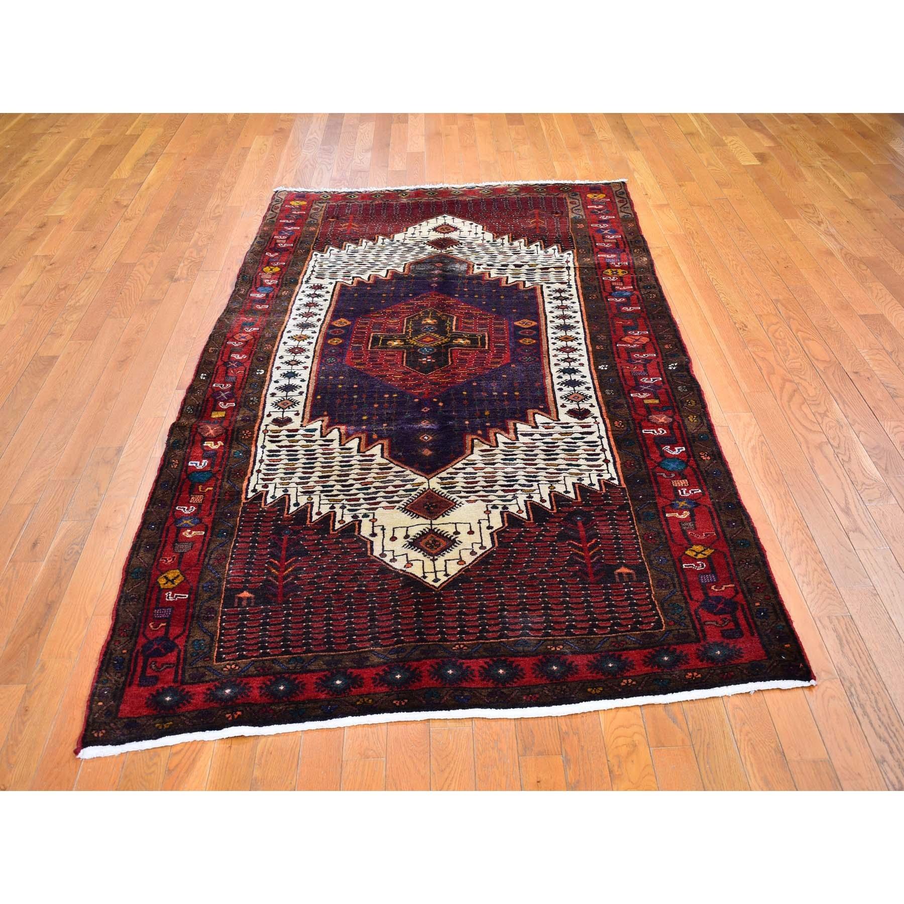 """5'x9'8"""" Red Vintage Persian Hamadan Clean Full Pile But Skewed Organic Wool Hand Knotted Oriental Rug"""