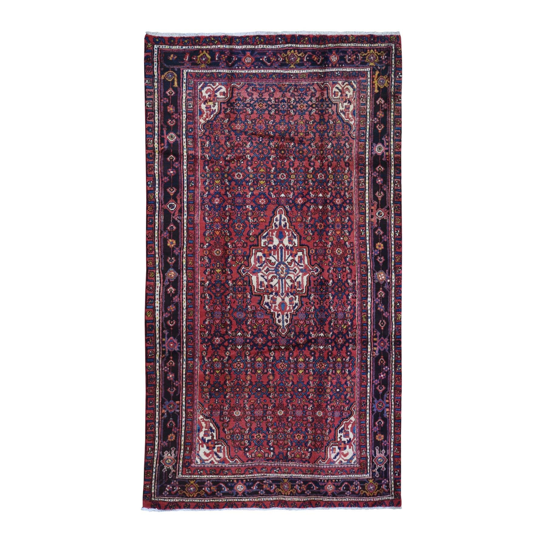 "5'6""x9'10"" Hand Knotted Vintage Persian Mahal Natural Wool Mahi Fish Design Red Oriental Rug"