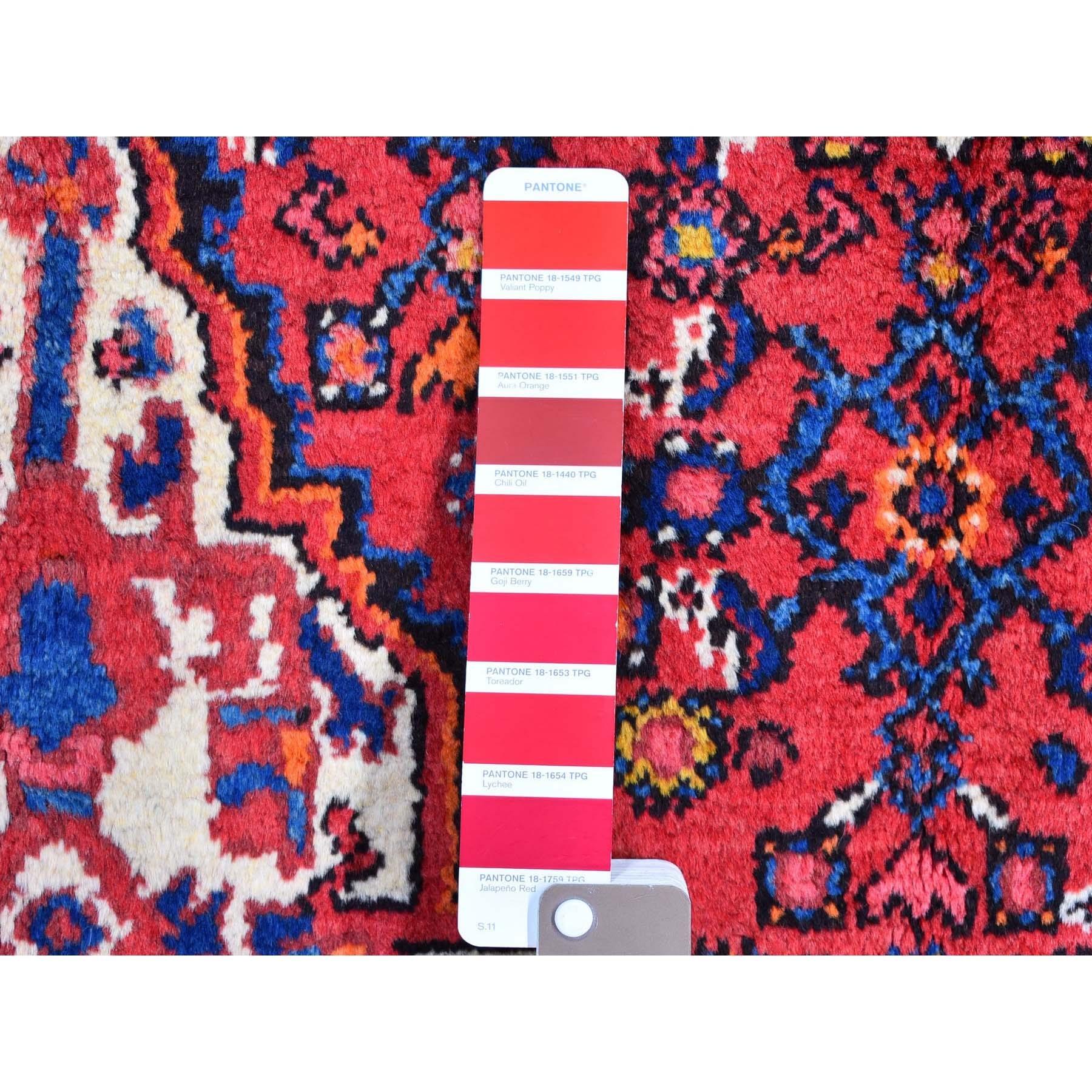 "5'6""x9'10"" Hand Knotted Vintage Persian Mahal Natural Wool Mahi Fish Design Red Oriental Rug"