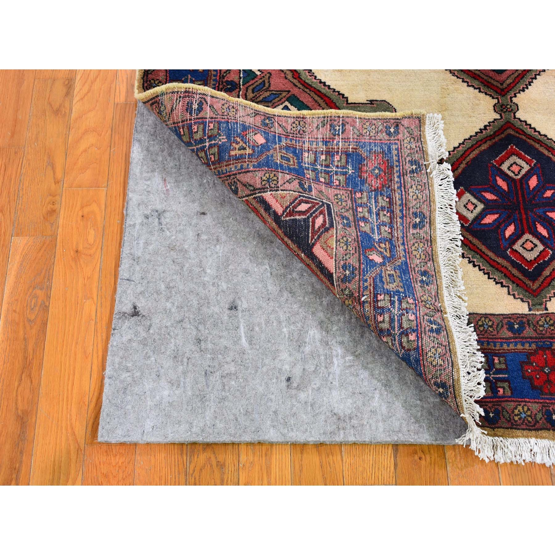 """4'9""""x6'7"""" Ivory Vintage Persian Malayer Serrated Medallions Pure Wool Hand Knotted Oriental Rug"""