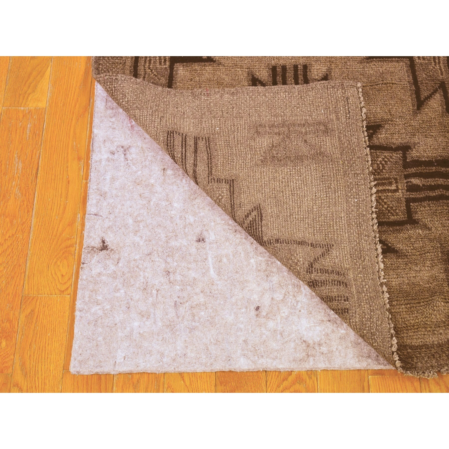 "2'7""x12'8"" Wash and Vintage Afghan Baluch Natural Color Pure Wool Hand Knotted Runner Oriental Rug"