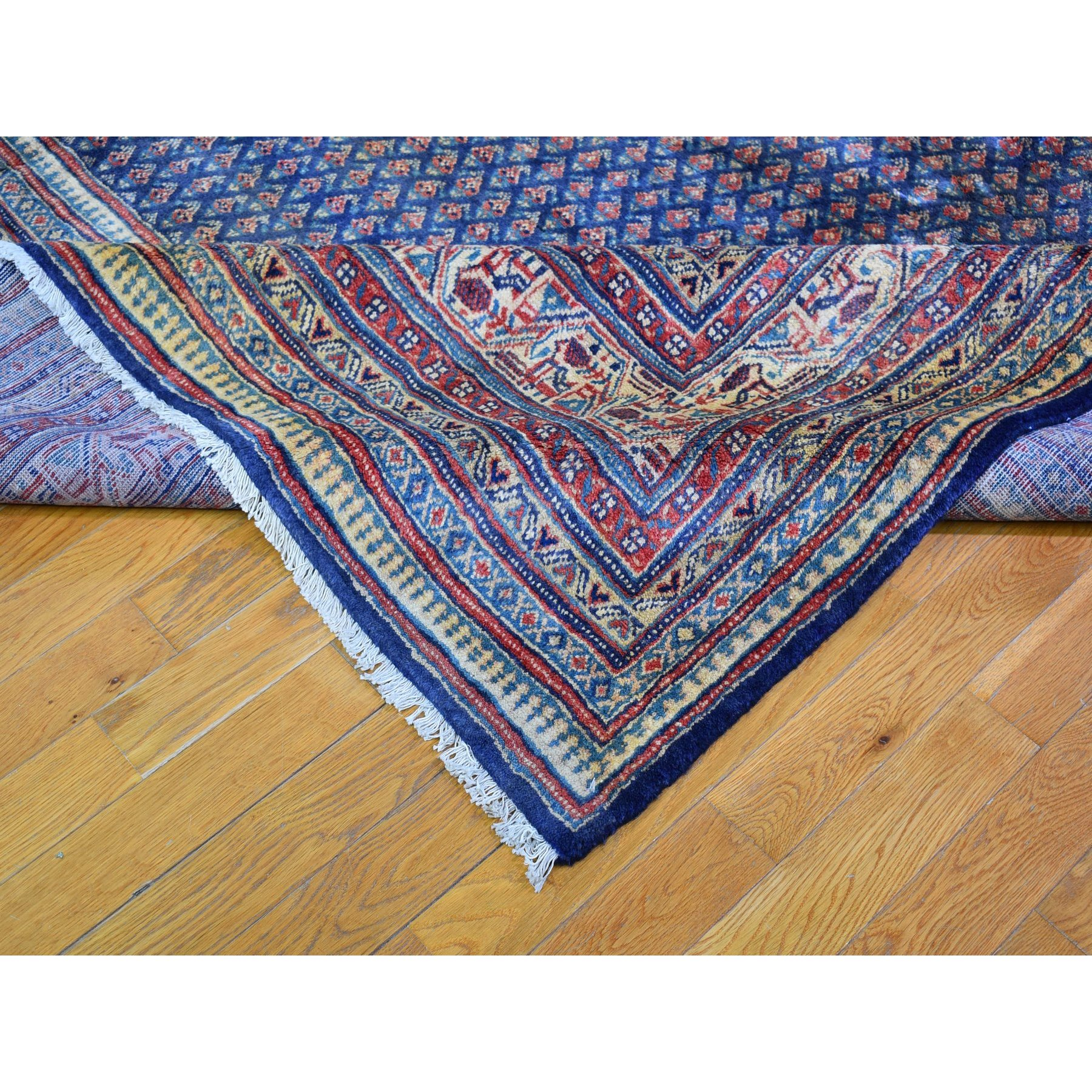 """9'9""""x13' Vintage Persian Serab with Nice Navy Blue Shades All Over Small Repetitive Design Pure Wool Hand Knotted Oriental Rug"""