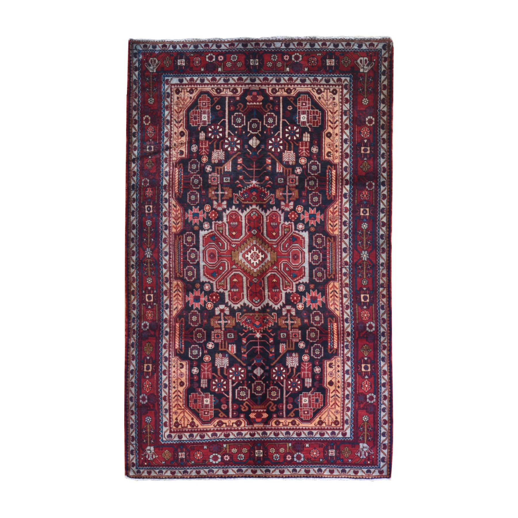 "5'10""x9'10"" Charcoal Black Vintage Persian Nahavand Straight, Hand Knotted Pure Wool Oriental Rug"