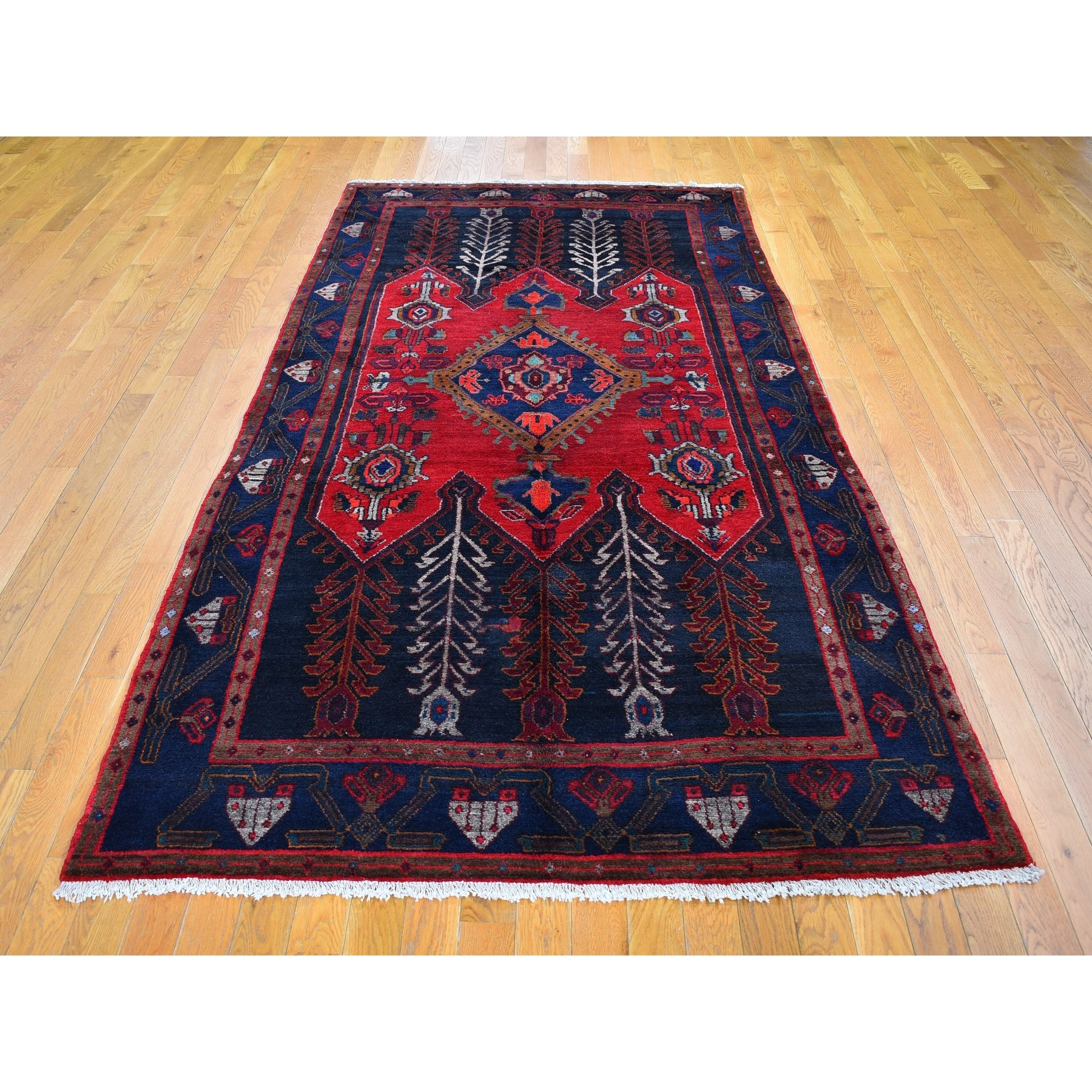 """5'x9'10"""" Charcoal Black Vintage Persian Hamadan with a Very Unique Tree Design Natural Wool Hand Knotted Oriental Rug"""