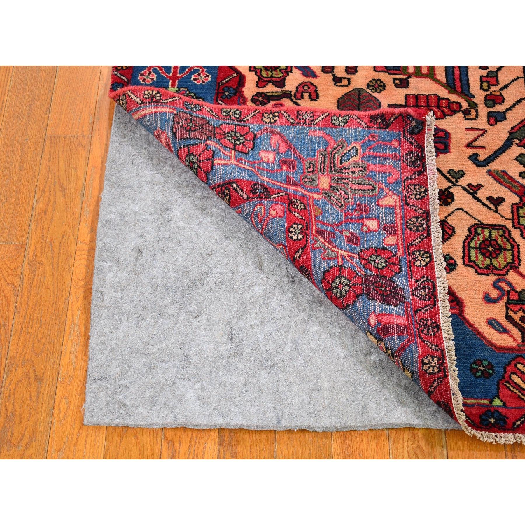 5'x8' Vintage Persian Nahavand Cream Pure Wool Hand Knotted Oriental Rug
