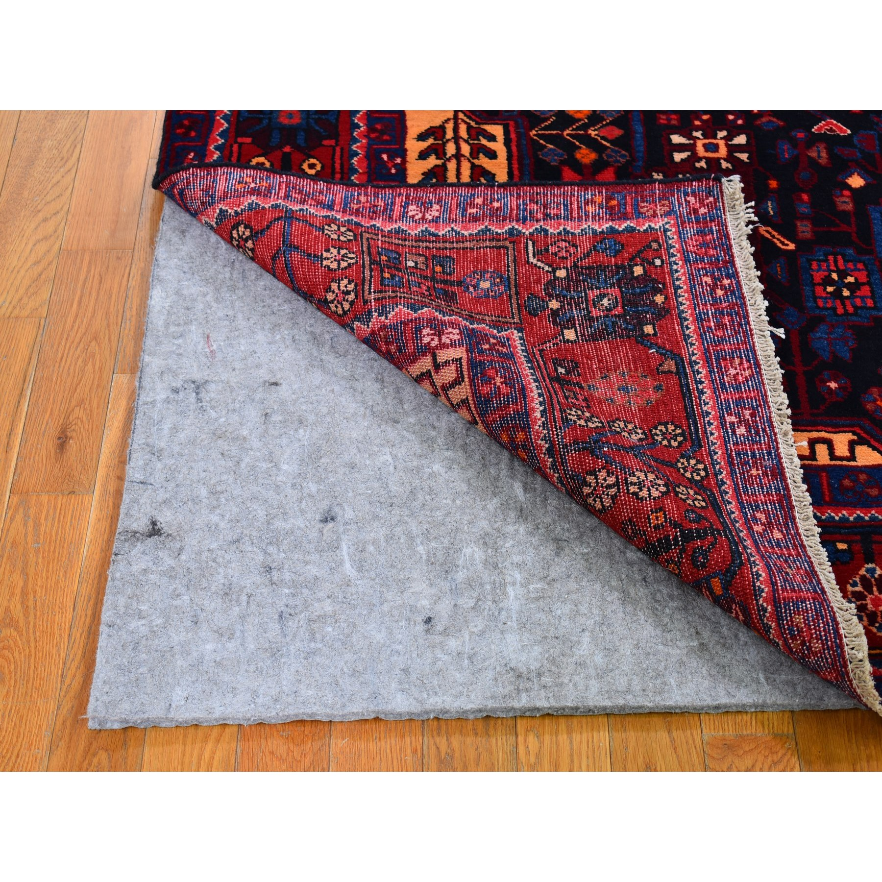 """5'8""""x10'4"""" Charcoal Black Vintage Persian Nahavand Straight and Clean Organic Wool Hand Knotted Oriental Rug"""