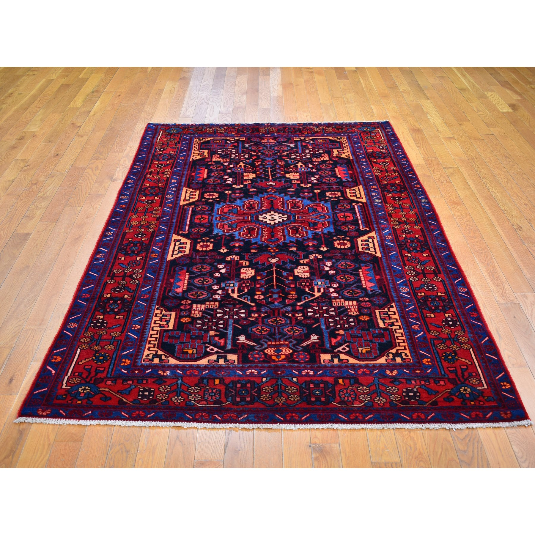 """5'x8'5"""" Vintage Persian Nahavand Straight and Clean Charcoal Black Pure Wool Hand Knotted Oriental Rug"""