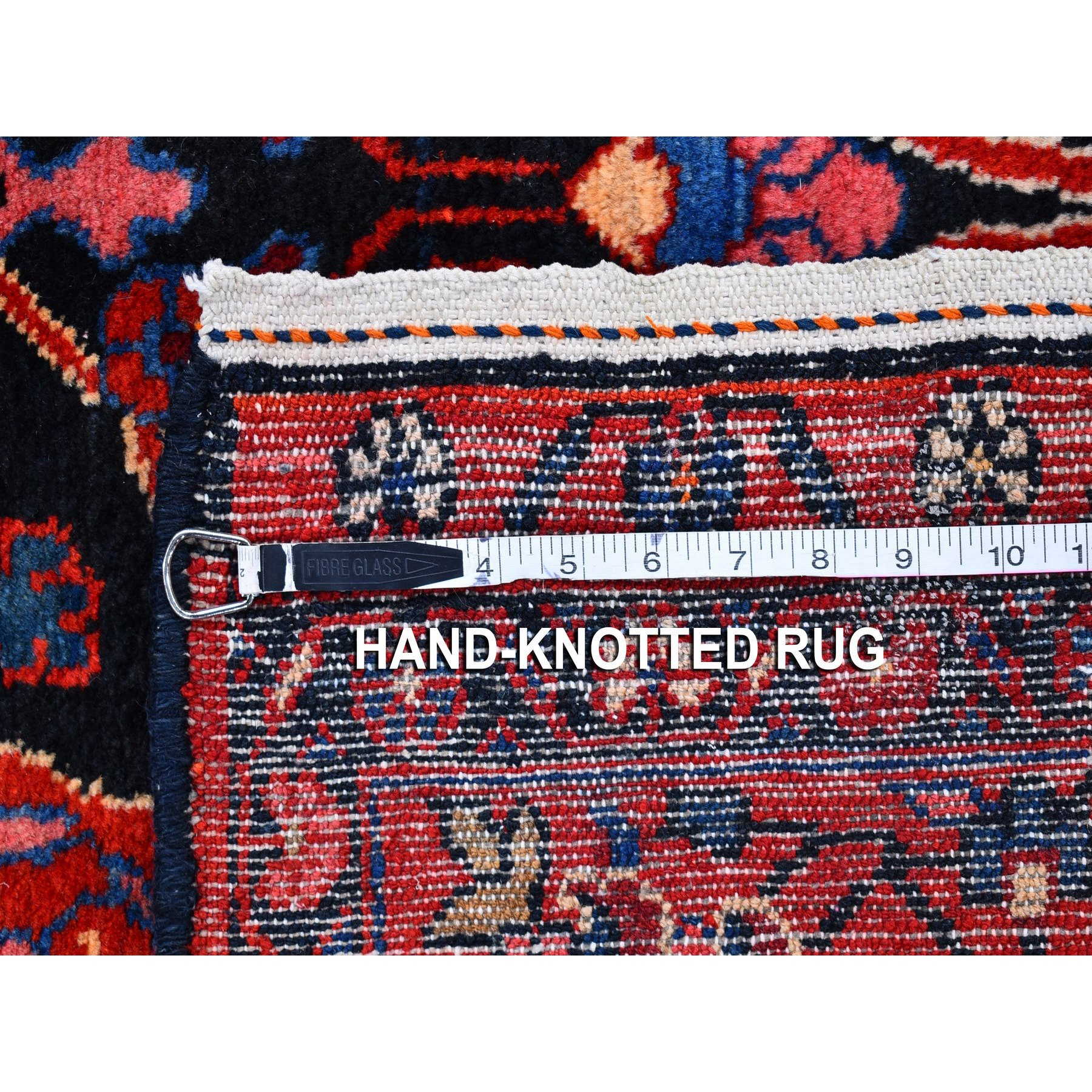 """5'2""""x9'10"""" Vintage Persian Nahavand with Dog Figurines Straight and Clean Black Organic Wool Hand Knotted Oriental Rug"""
