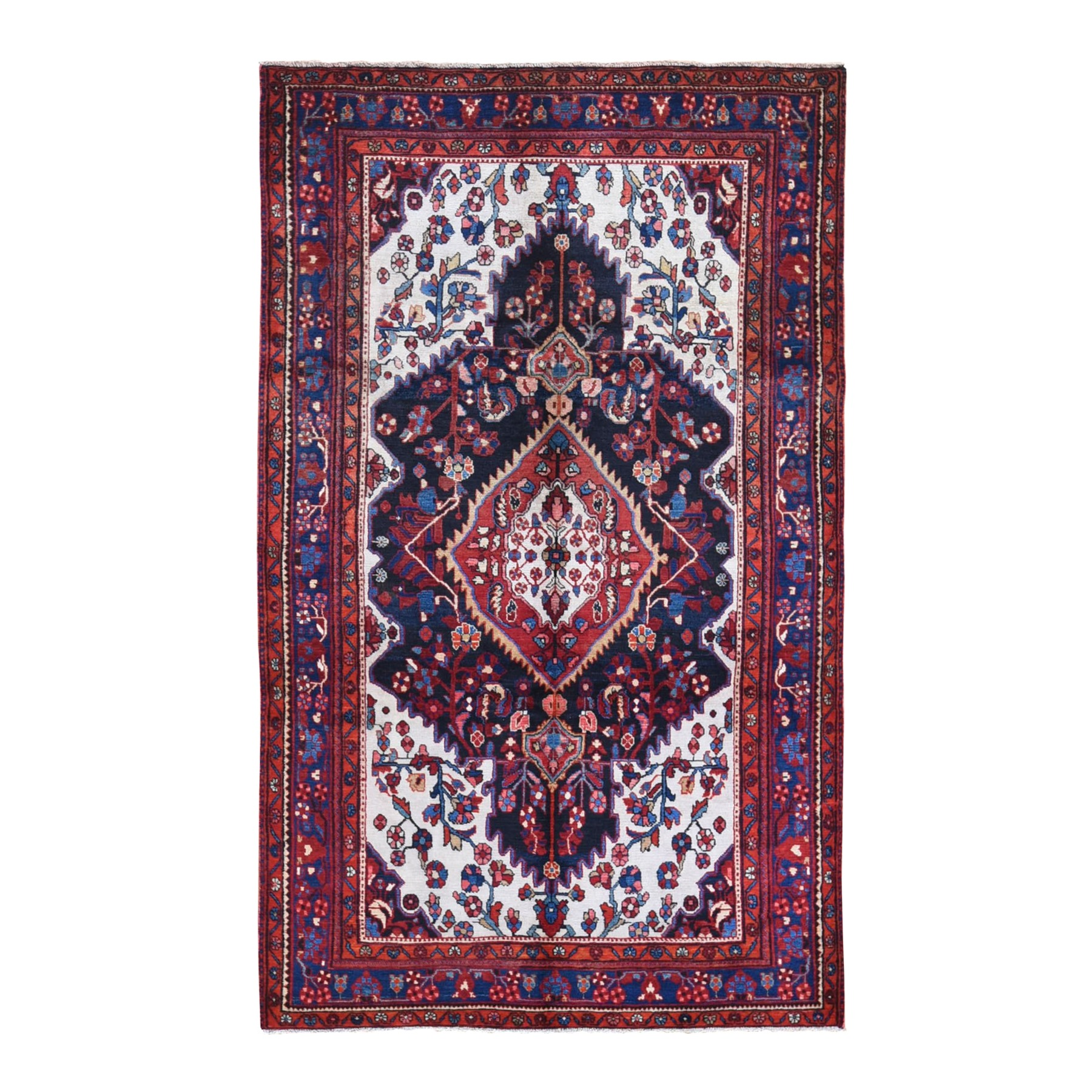 "5'2""x8'9"" Vintage Persian Nahavand Serrated Medallion with Ivory Corners Organic Wool Hand Knotted Oriental Rug"
