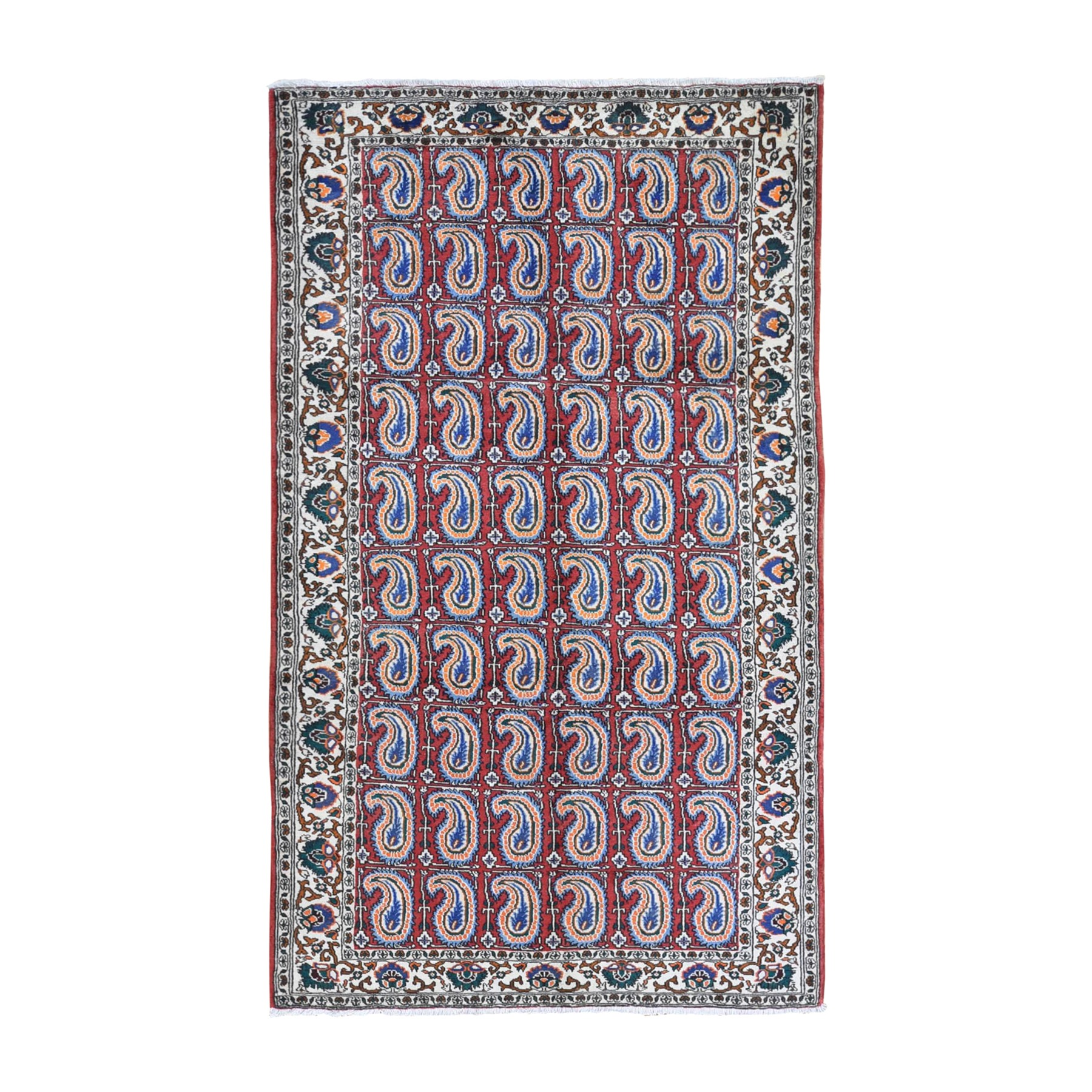 "5'3""x9'10"" Vintage Persian Bakhtiar with Block Paisley Design Pure Wool Hand Knotted Oriental Rug"