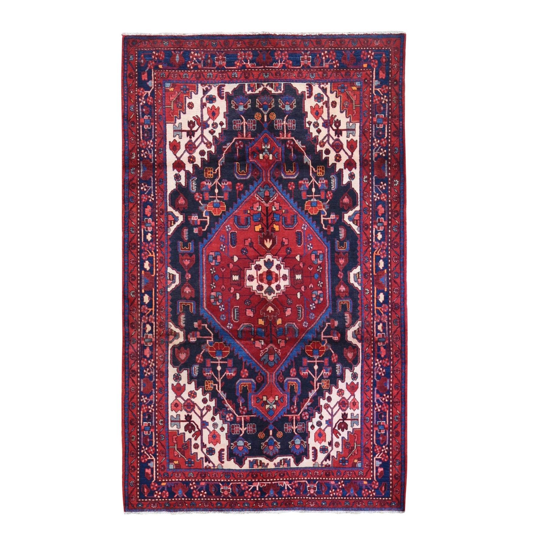 "5'6""x9'4"" Navy Blue Vintage Full Pile 100% Wool Persian Nahavand Hand Knotted Oriental Rug"