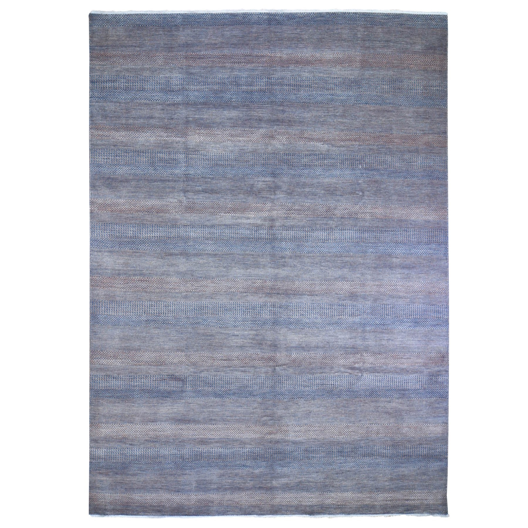 "9'1""x12'2"" Denim Blue with Touches of Orange Grass Design Wool and Silk Hand Knotted Oriental Rug"
