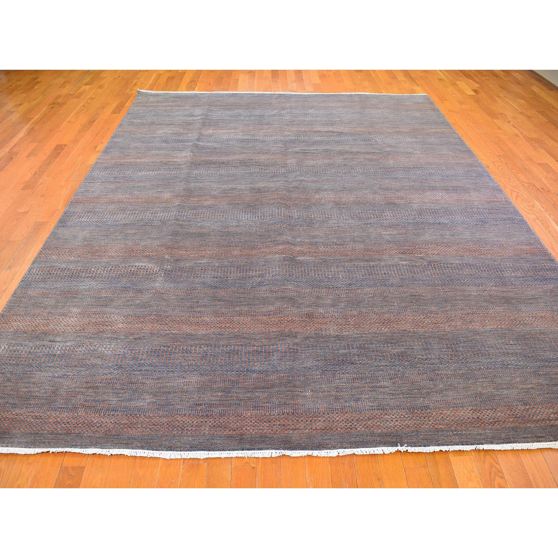 """9'1""""x12'2"""" Denim Blue with Touches of Orange Grass Design Wool and Silk Hand Knotted Oriental Rug"""