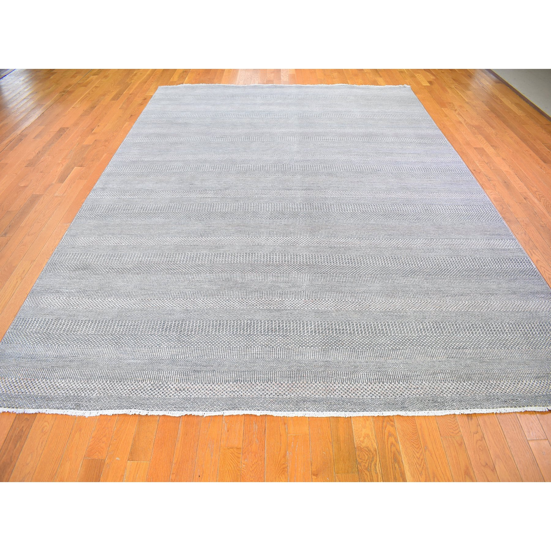 """9'x12'2"""" Gray Wool and Silk Hand Knotted Grass Design Oriental Rug"""