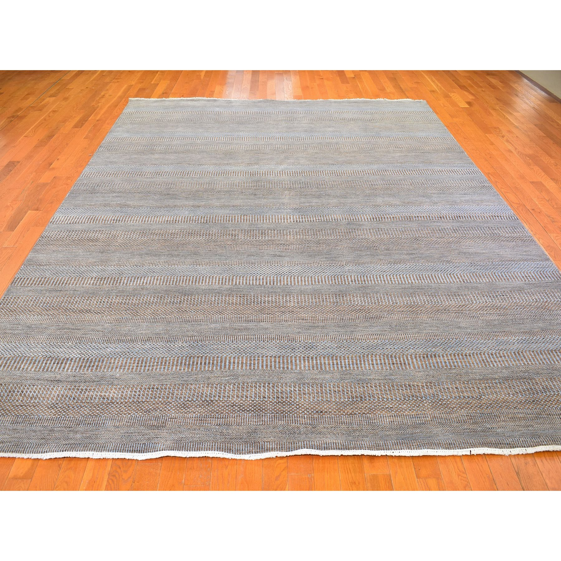 """8'10""""x12'2"""" Brown with Touches of Light Blue Grass Design Wool and Silk Hand Knotted Oriental Rug"""
