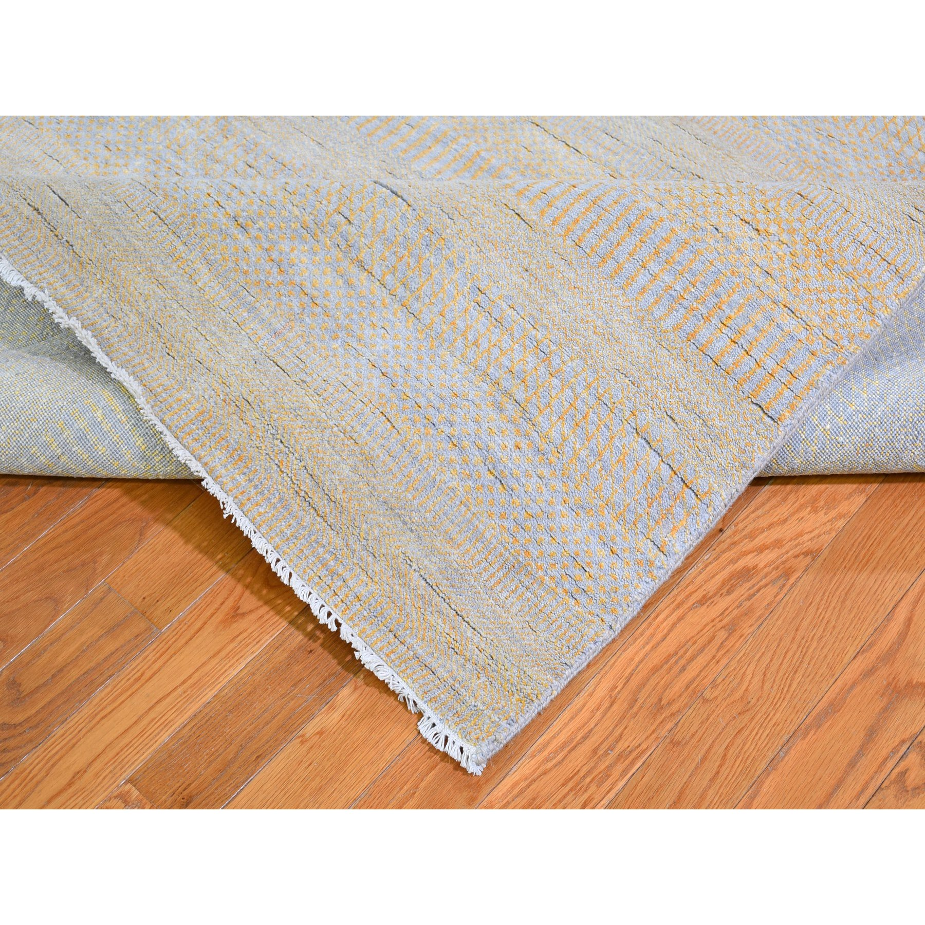 """8'1""""x9'8"""" Yellow Hand Knotted Grass Design Wool and Silk Oriental Rug"""