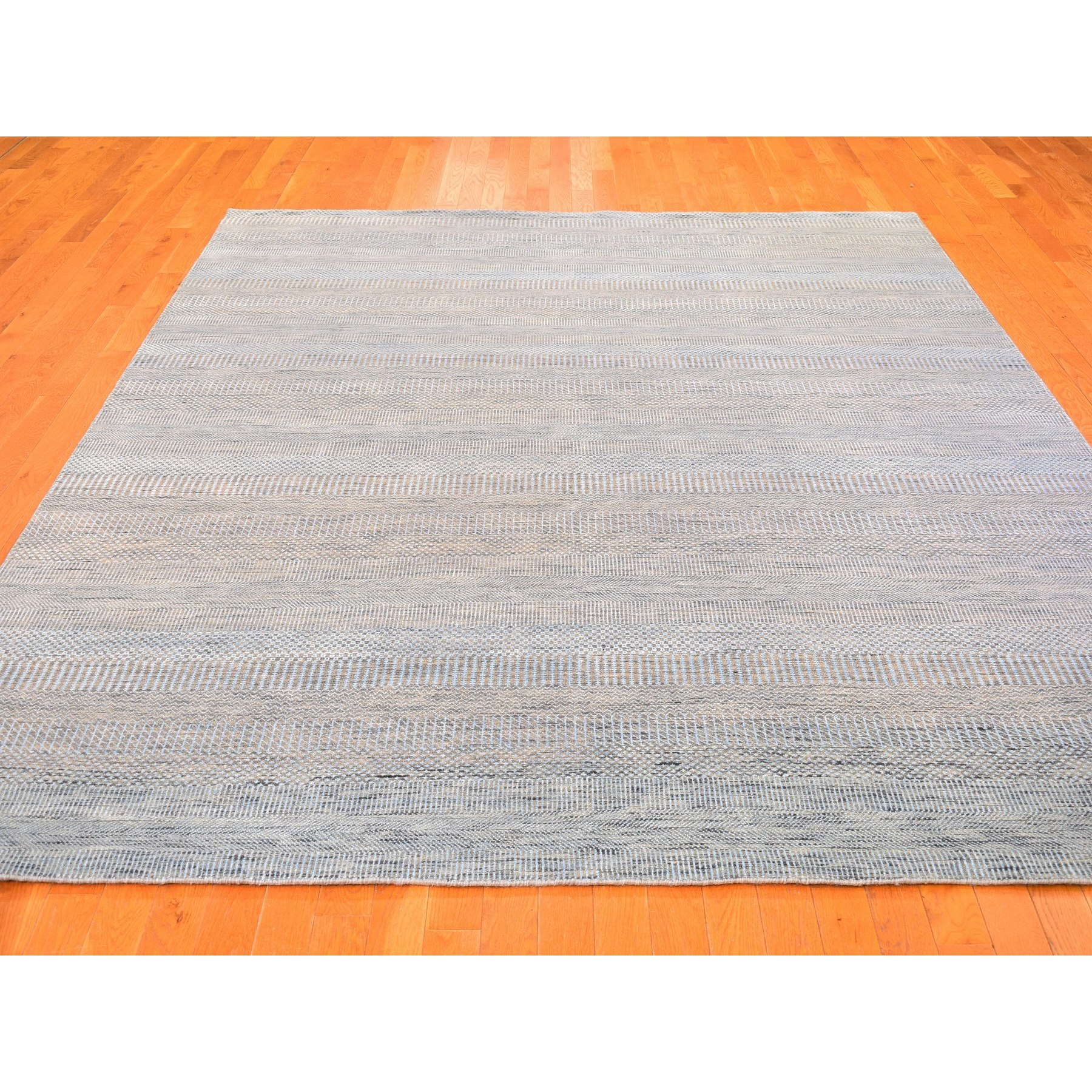 "8'1""x10'2"" Light Blue Wool and Silk Grass Design Hand Knotted Oriental Rug"