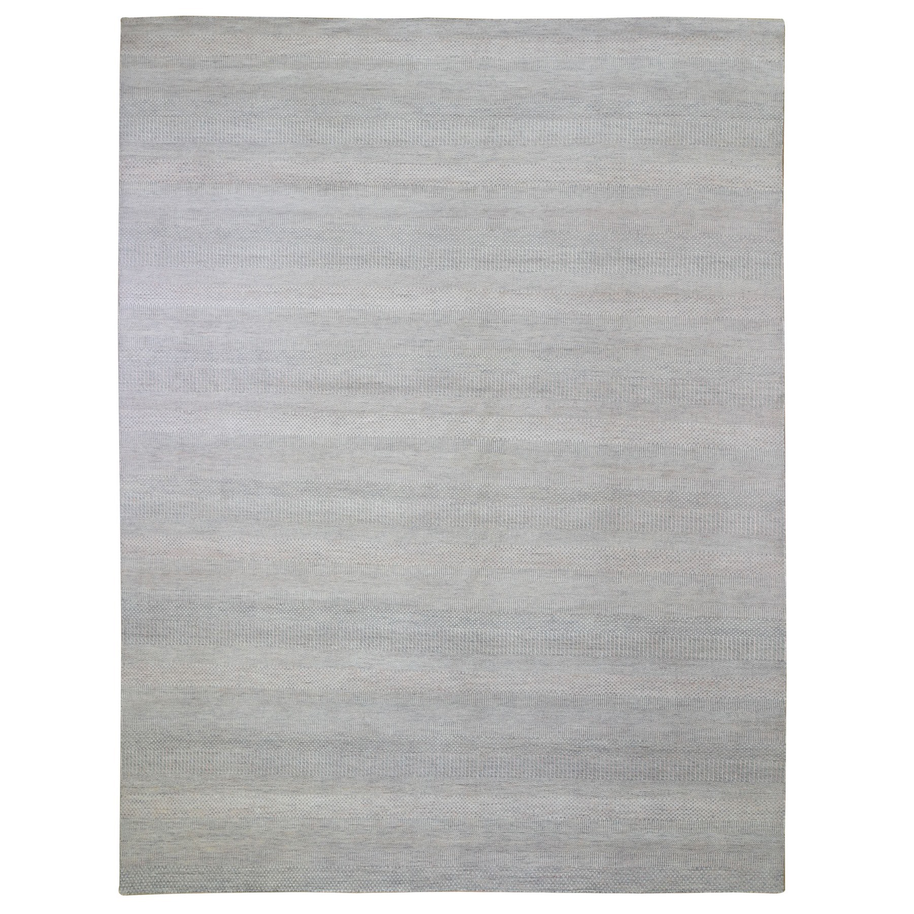 "9'x11'7"" Gray with Touches of Peach Grass Design Wool and Silk Hand Knotted Oriental Rug"