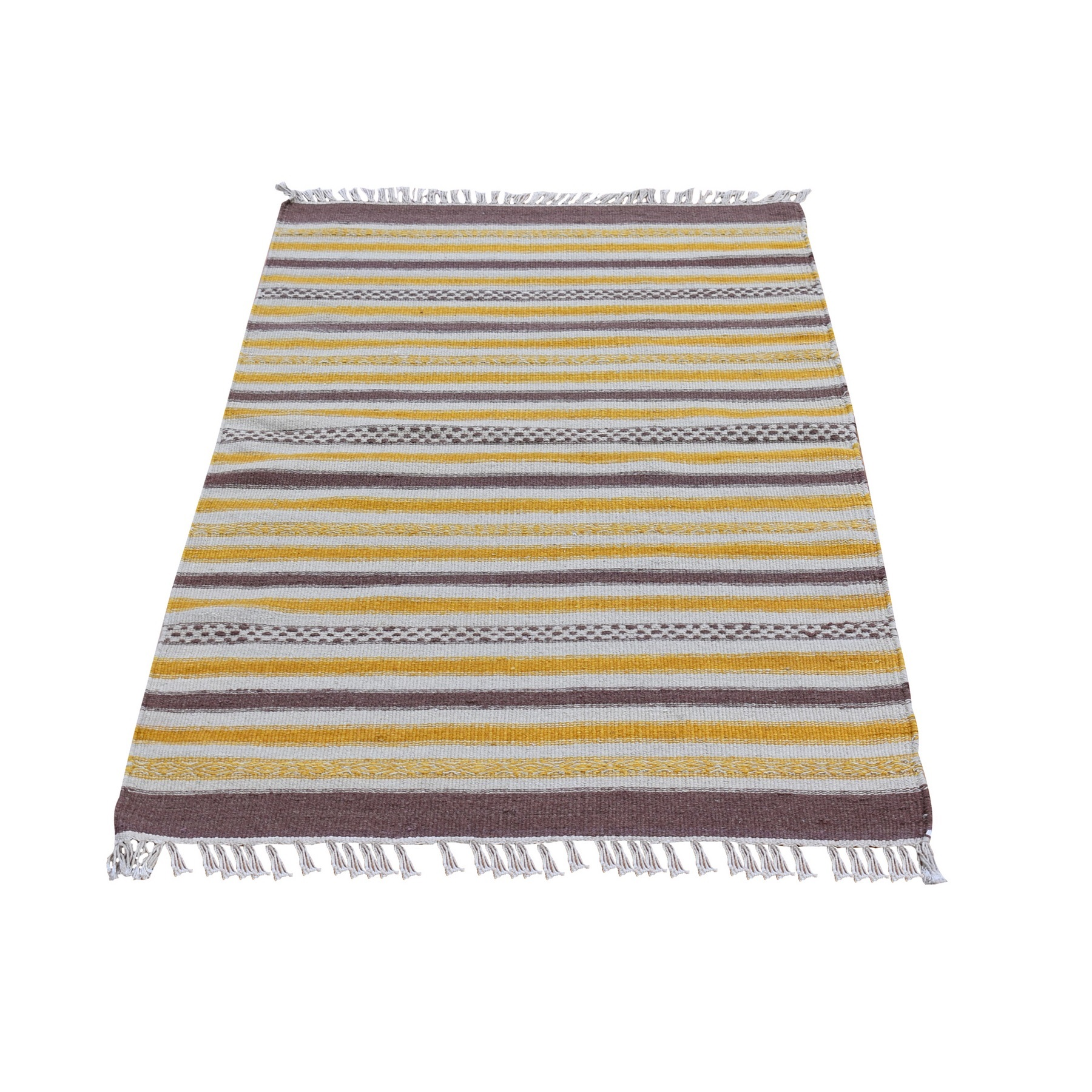 "2'9""x4'10"" Yellow Striped Design Flat Weave Kilim Pure Wool Hand Woven Oriental Rug"