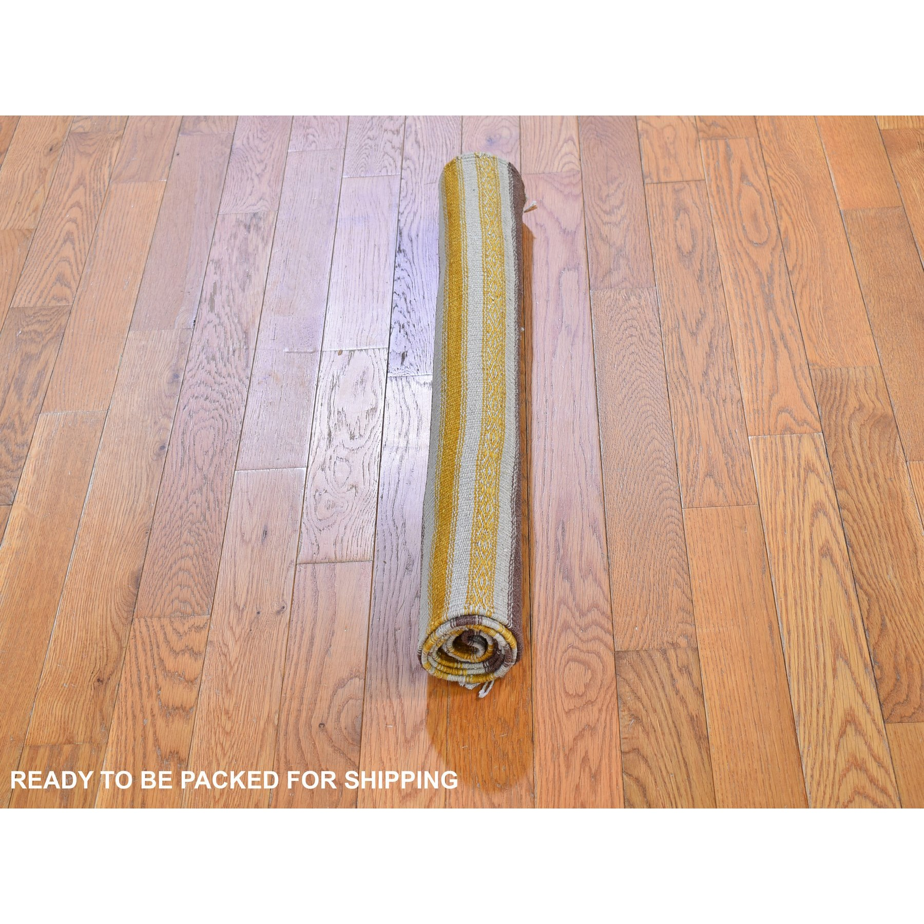 "2'9""x4'10"" Yellow Striped Design Flat Weave Kilim Pure Wool Hand Woven Oriental Rug"