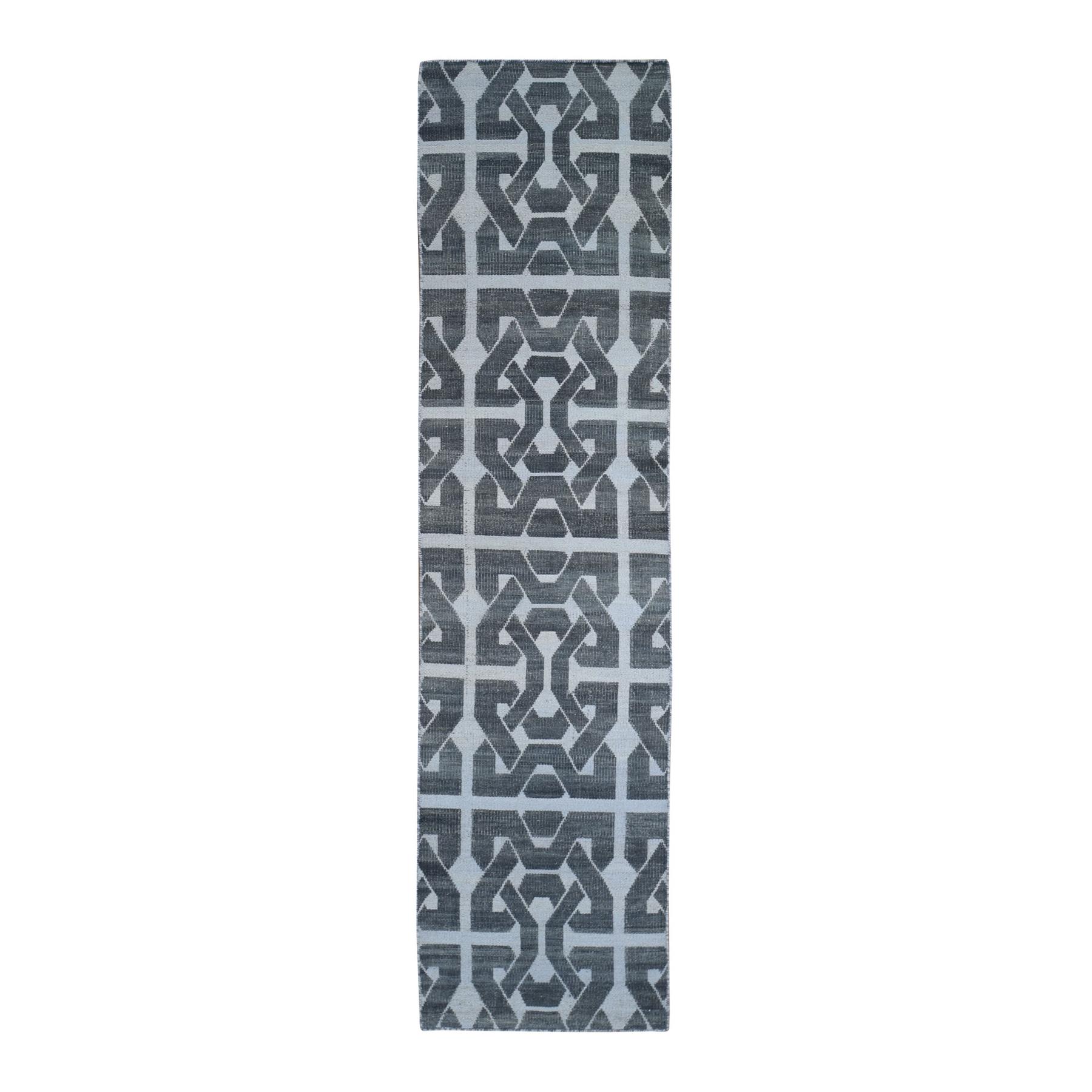 "2'6""x9'8"" Gray Hand Woven Flat Weave Geometric Pattern Pure Wool Reversible Kilim Runner Oriental Rug"