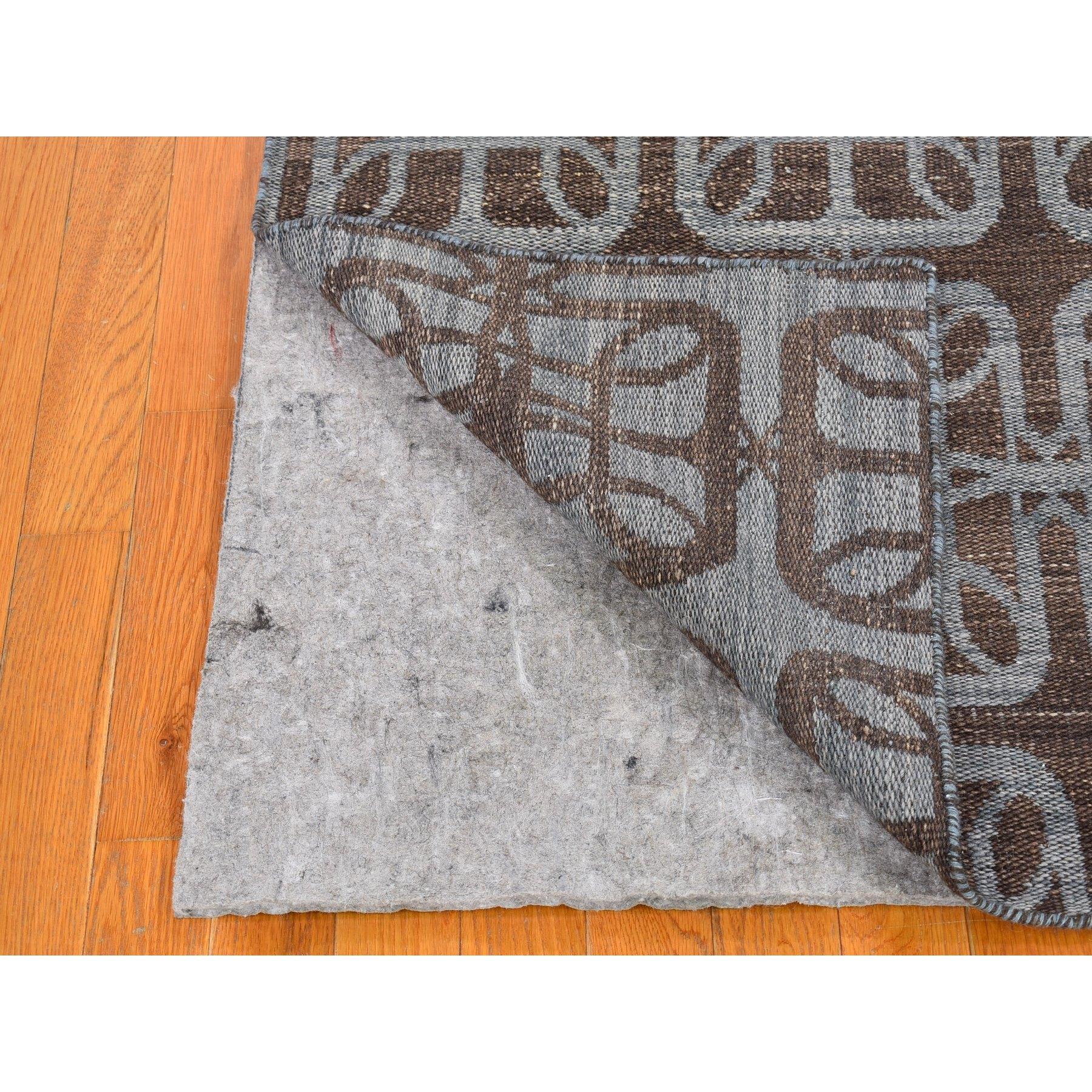 4'x6' Brown Hand Woven Flat Weave Pure Wool Reversible Kilim Oriental Rug