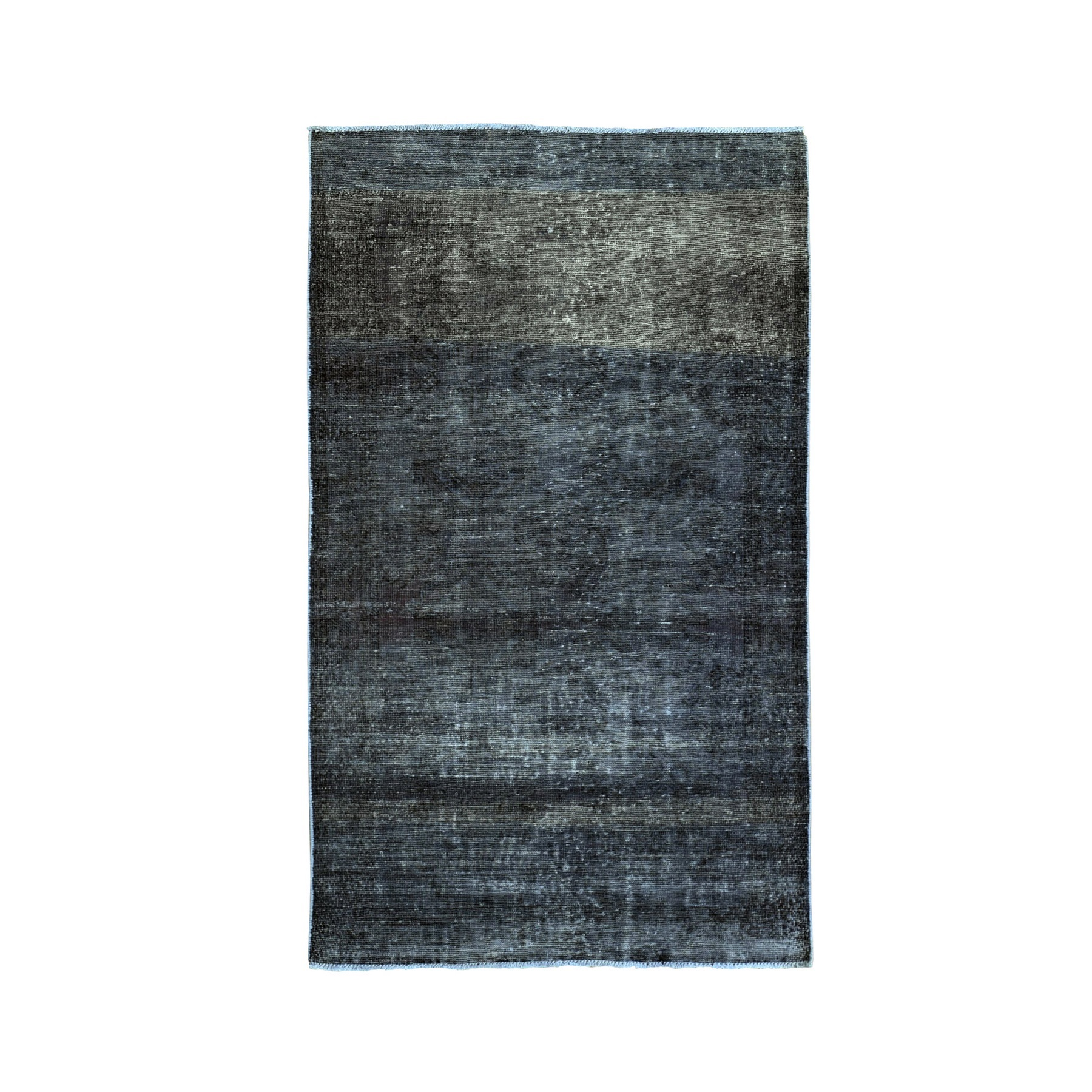 "3'9""x6'6"" Charcoal Grey Overdyed Worn Down Hand Knotted Oriental Rug"