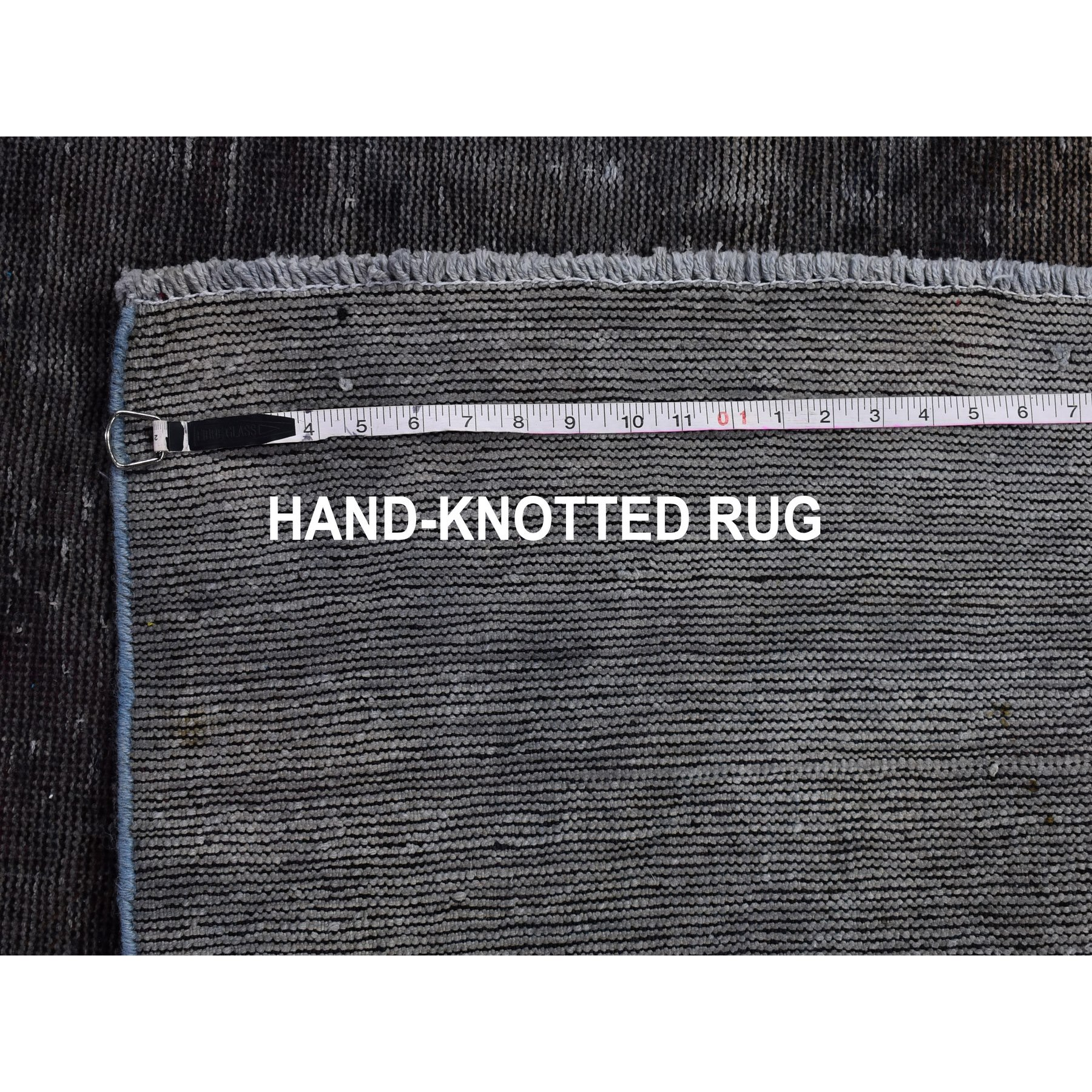 """3'9""""x6'6"""" Charcoal Grey Overdyed Worn Down Hand Knotted Oriental Rug"""