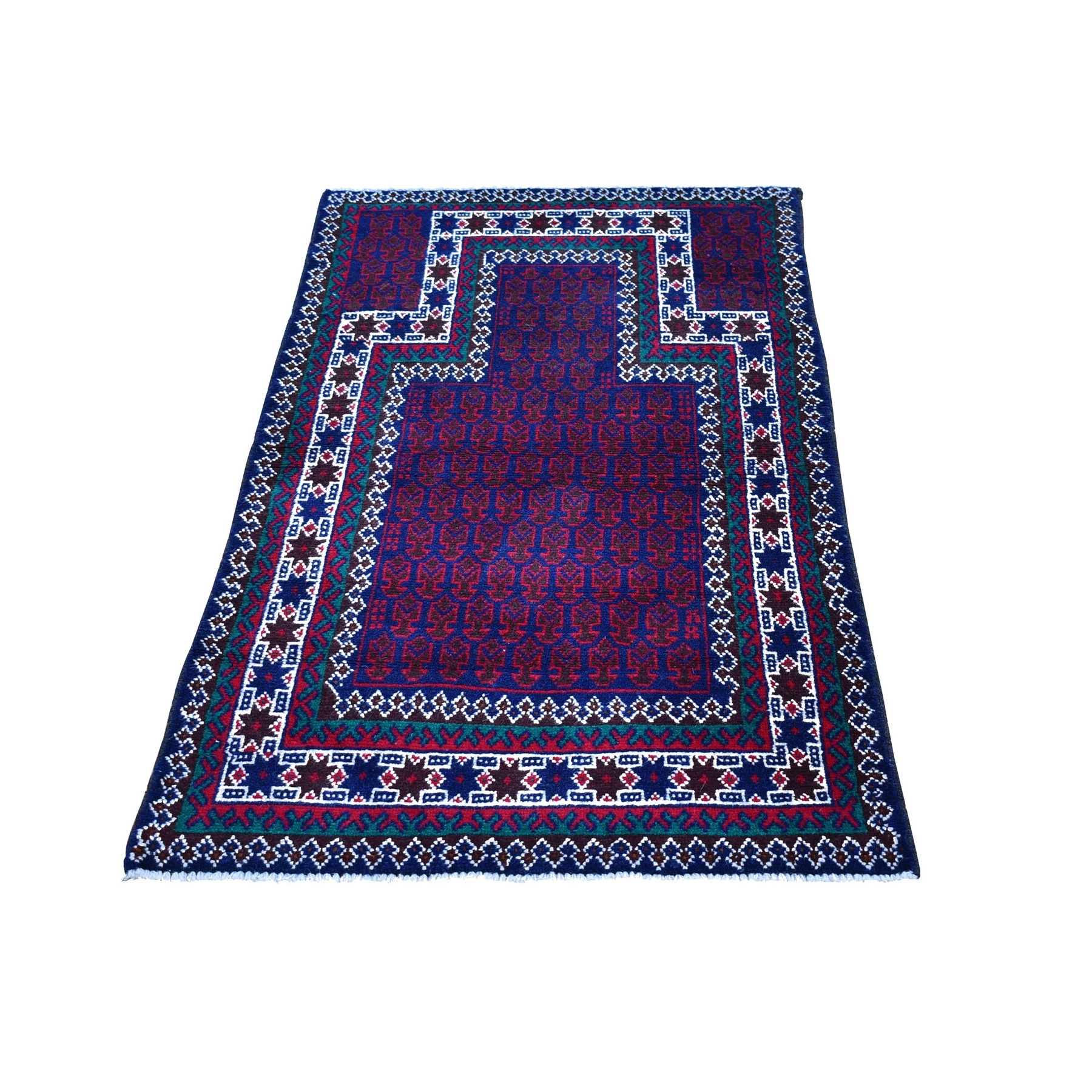 "2'8""x4'8"" New Afghan Baluch with Prayer Boteh Design Navy Blue Wool on Wool Hand Knotted Oriental Rug"