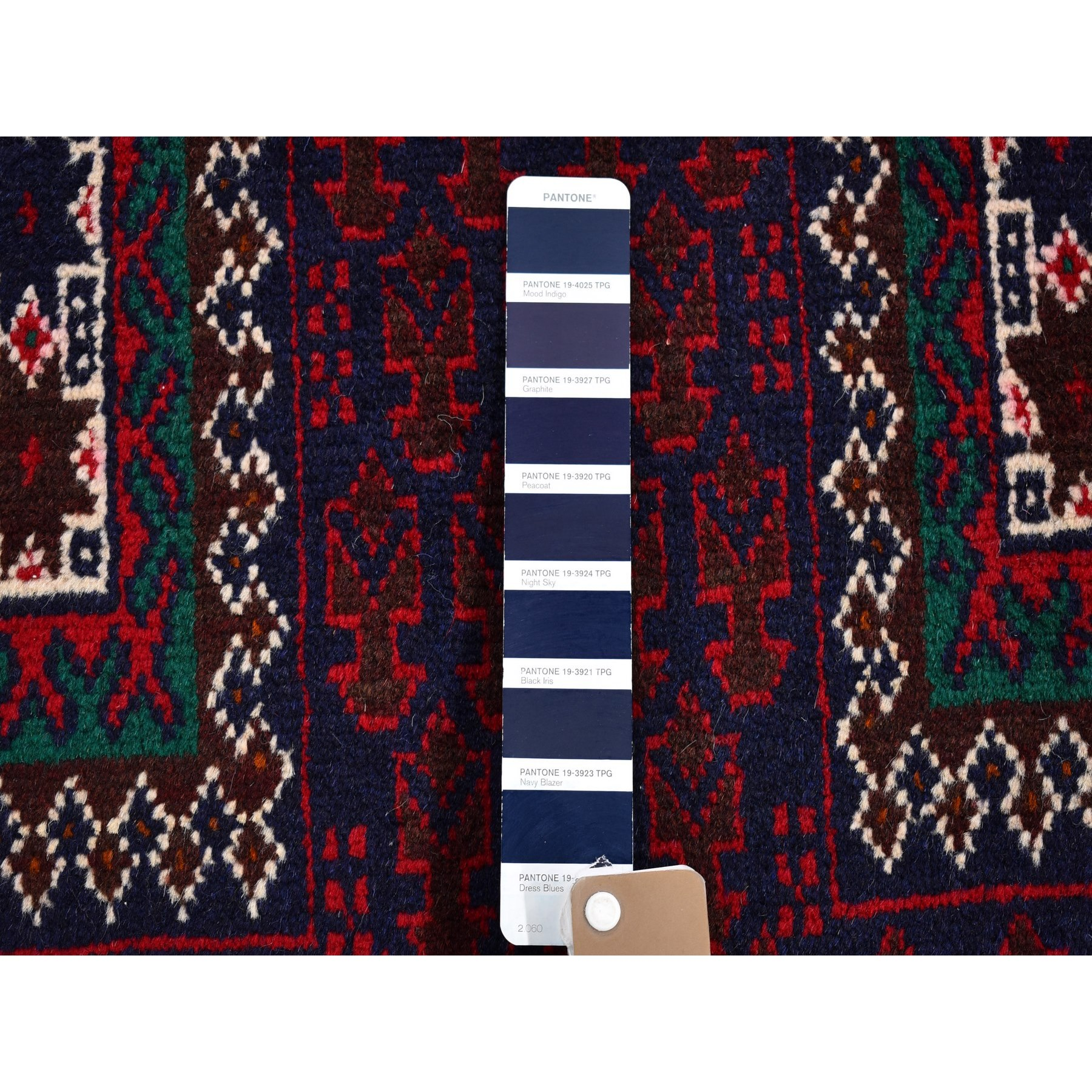 """2'8""""x4'8"""" New Afghan Baluch with Prayer Boteh Design Navy Blue Wool on Wool Hand Knotted Oriental Rug"""