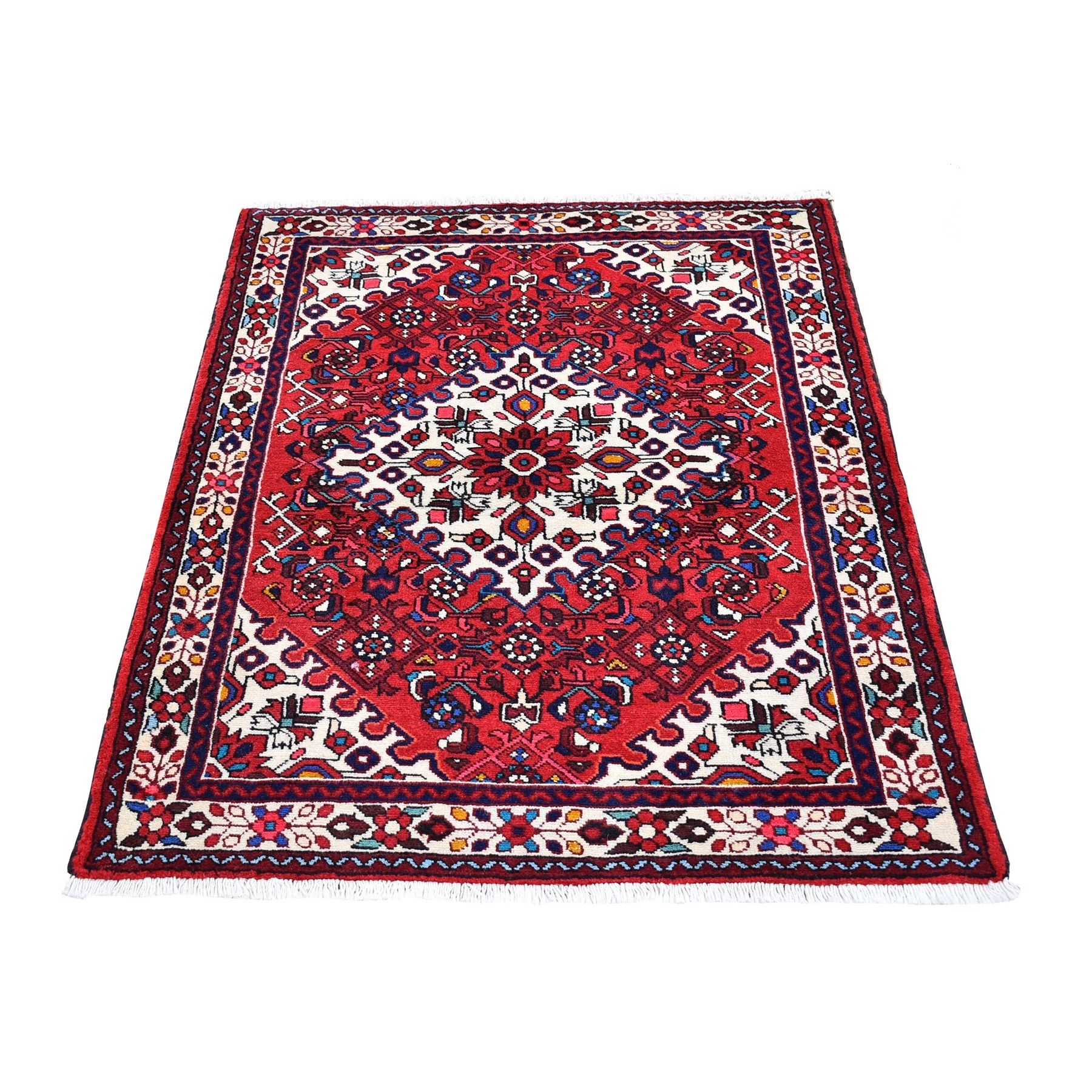 "3'6""x4'8"" Red New Persian Hamadan Flower Design Organic Wool Hand Knotted Oriental Rug"