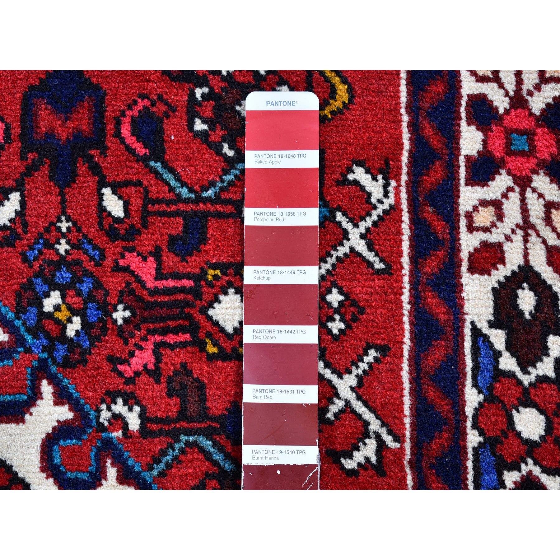 "3'6""x4'8"" Red New Persian Hamadan Flower Design Organic Wool Hand Knotted Oriental Rug"