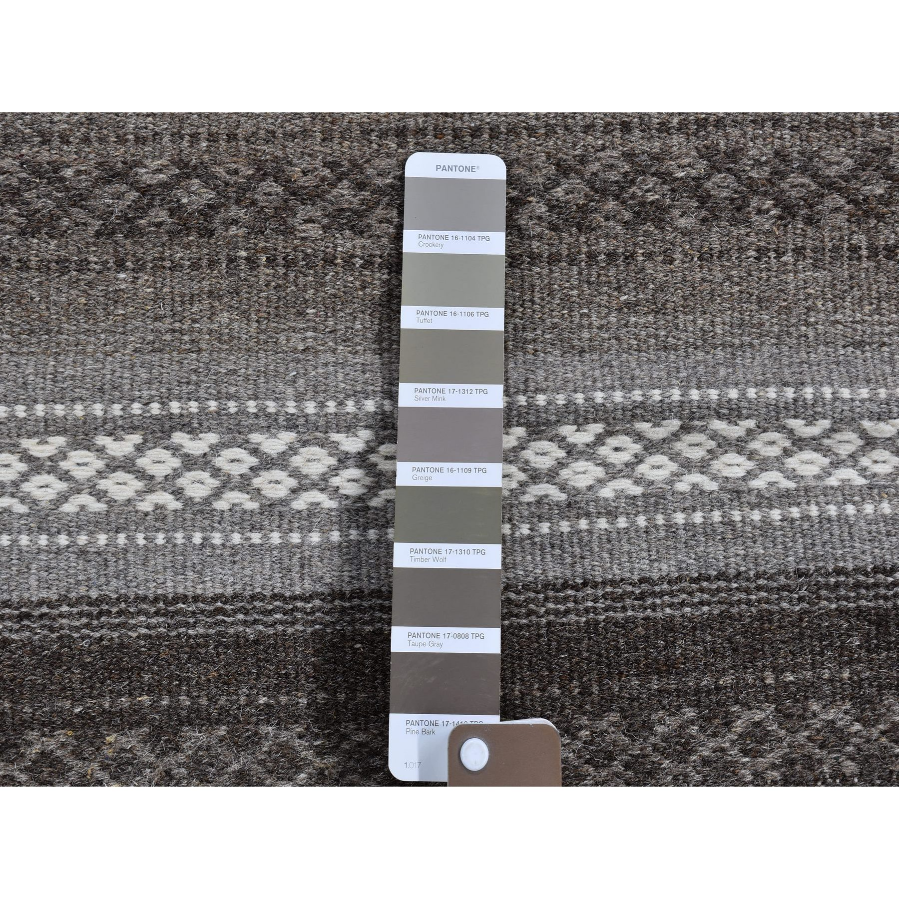 4'x6' Taupe Reversible Striped Design Flat Weave Kilim Hand Woven Oriental Rug