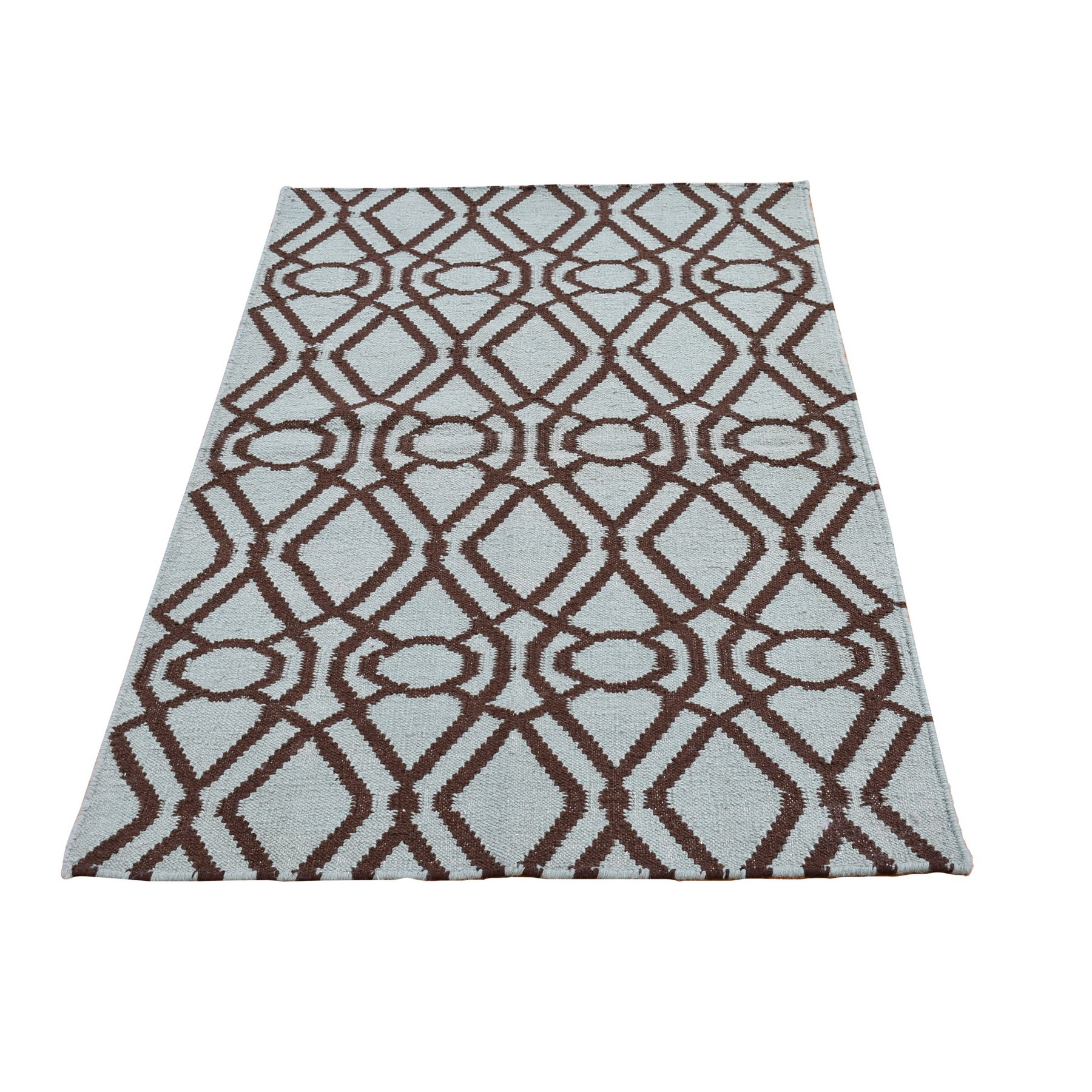 "3'2""x5' Light Green and Charcoal Brown Pure Wool Reversible Kilim Flat Weave Hand Woven Oriental Rug"