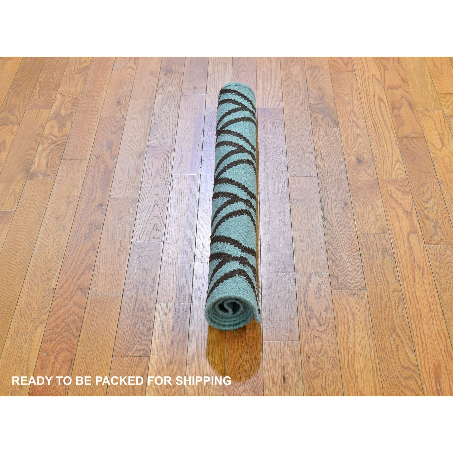 """3'2""""x5' Light Green and Charcoal Brown Pure Wool Reversible Kilim Flat Weave Hand Woven Oriental Rug"""