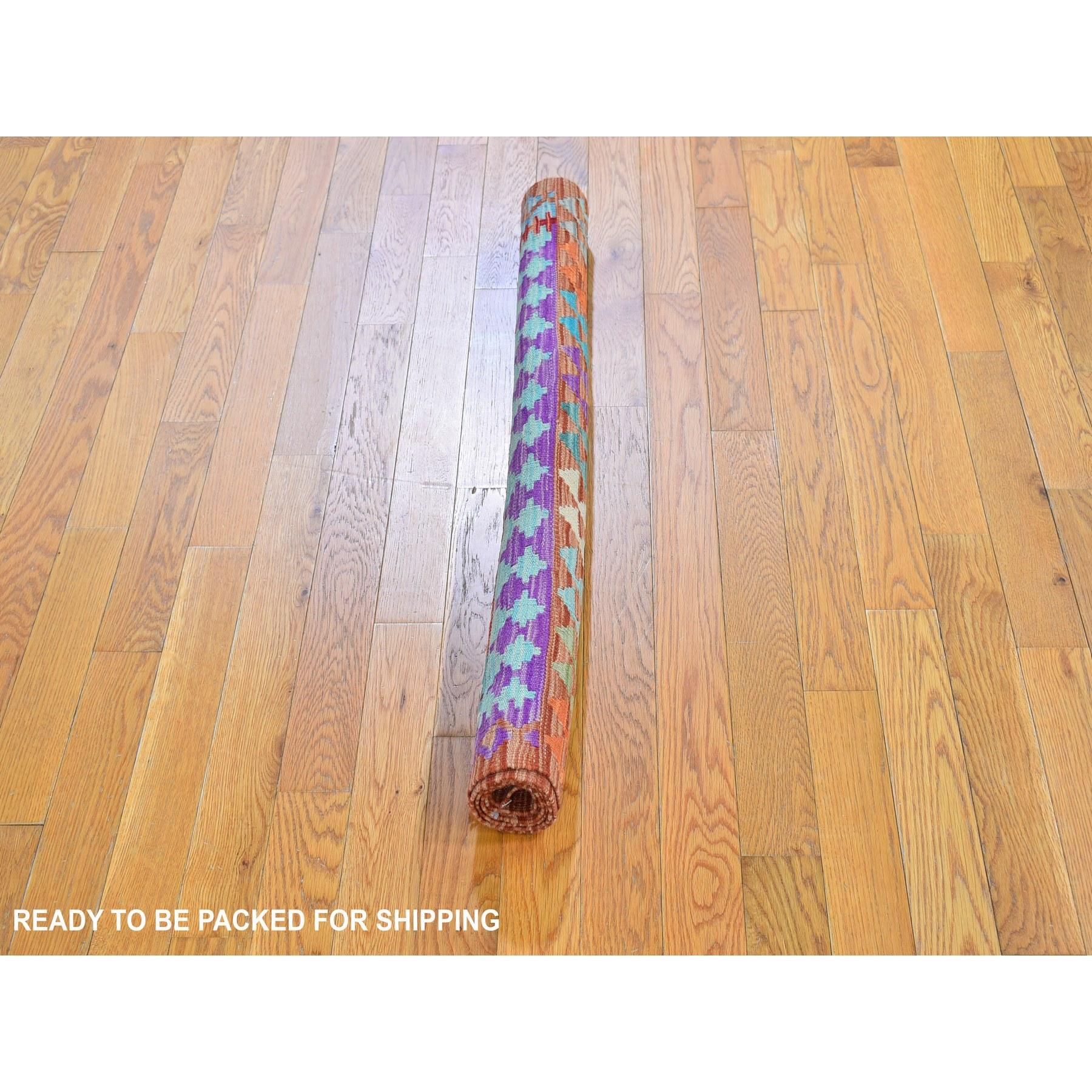 """3'4""""x4'10"""" Colorful Reversible Flat Weave Afghan Kilim 100% Wool Hand Woven Oriental Rug"""
