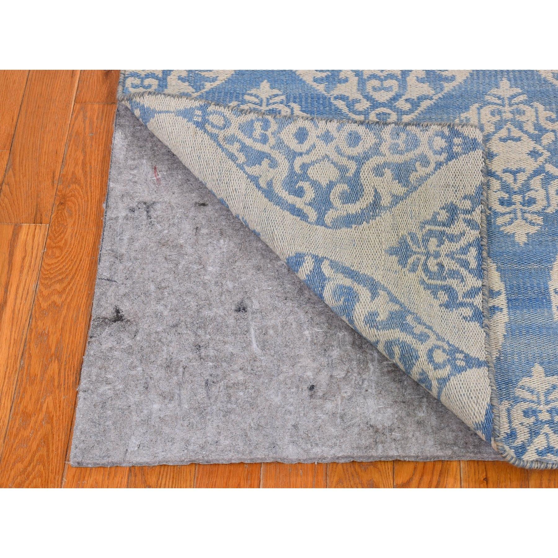 "2'7""x9'6"" Light Blue Reversible Kilim Pure Wool Flat Weave Hand Woven Runner Oriental Rug"